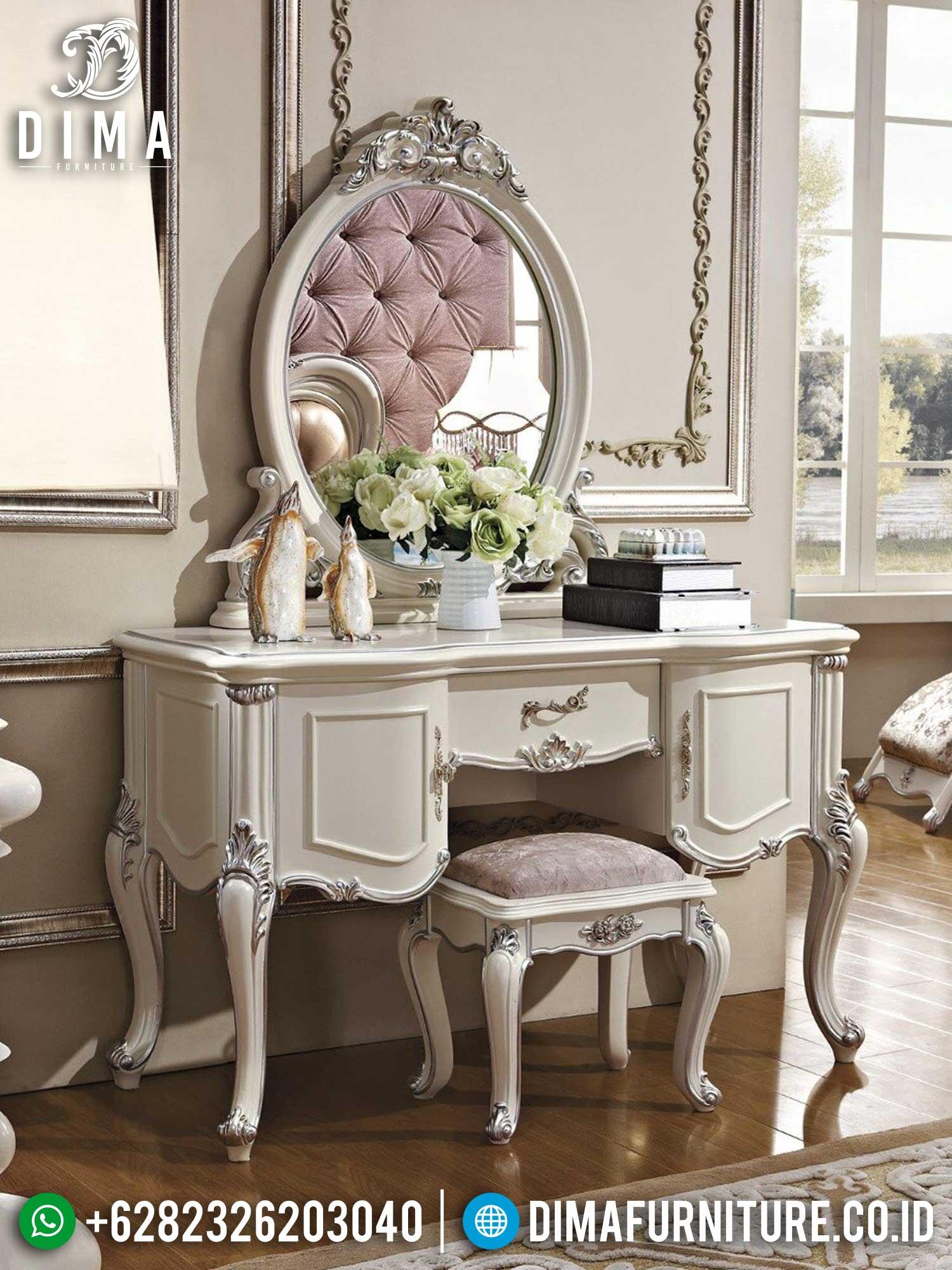 Meja Rias Putih Mewah Luxury Carving Jepara Harga Terjangkau Berkualitas TTJ-1418