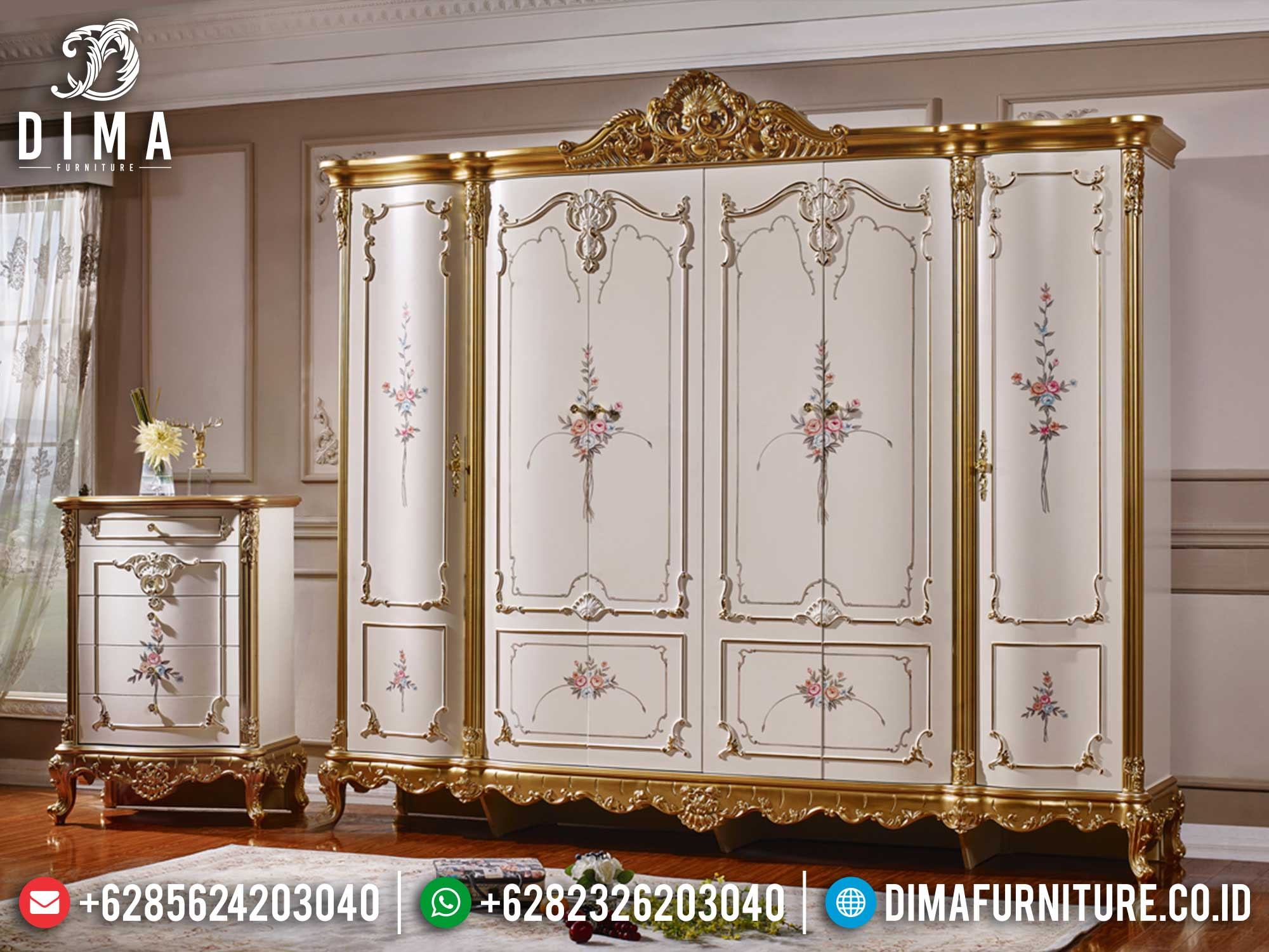 New Lemari Baju Mewah Jepara Luxury Classic Design Berkualitas TTJ-1406