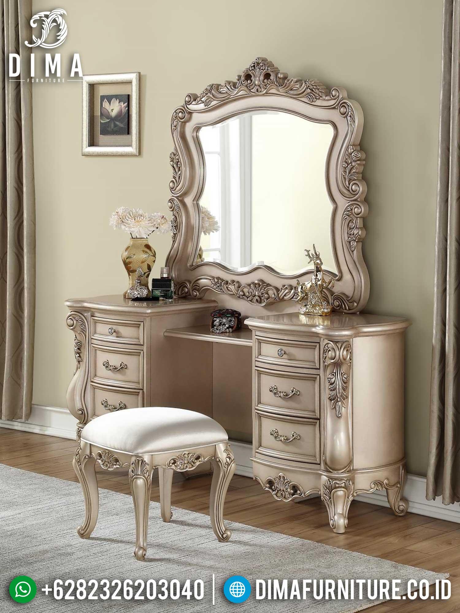 Set Meja Rias Mewah Ukiran Jepara Luxurious Classic Color Duco Top Coat TTJ-1419