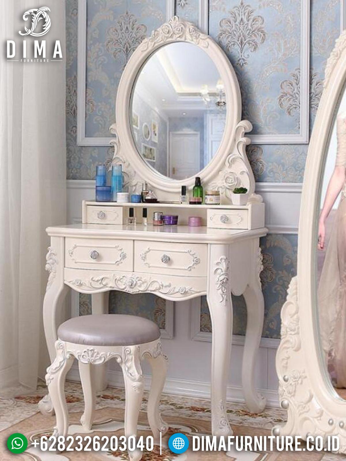 Set Meja Rias Minimalis Ukir Jepara Luxury Design White Duco Color TTJ-1448