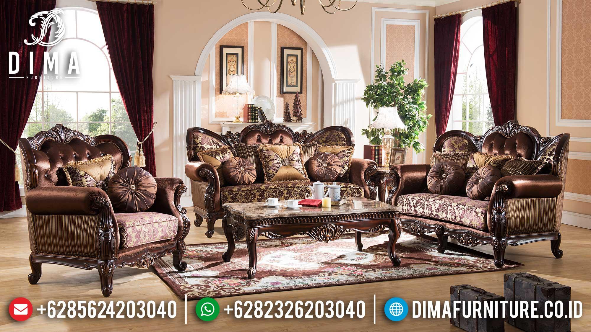 Set Sofa Tamu Mewah Terbaru Classic Luxury Natural Jati Jepara TTJ-1523