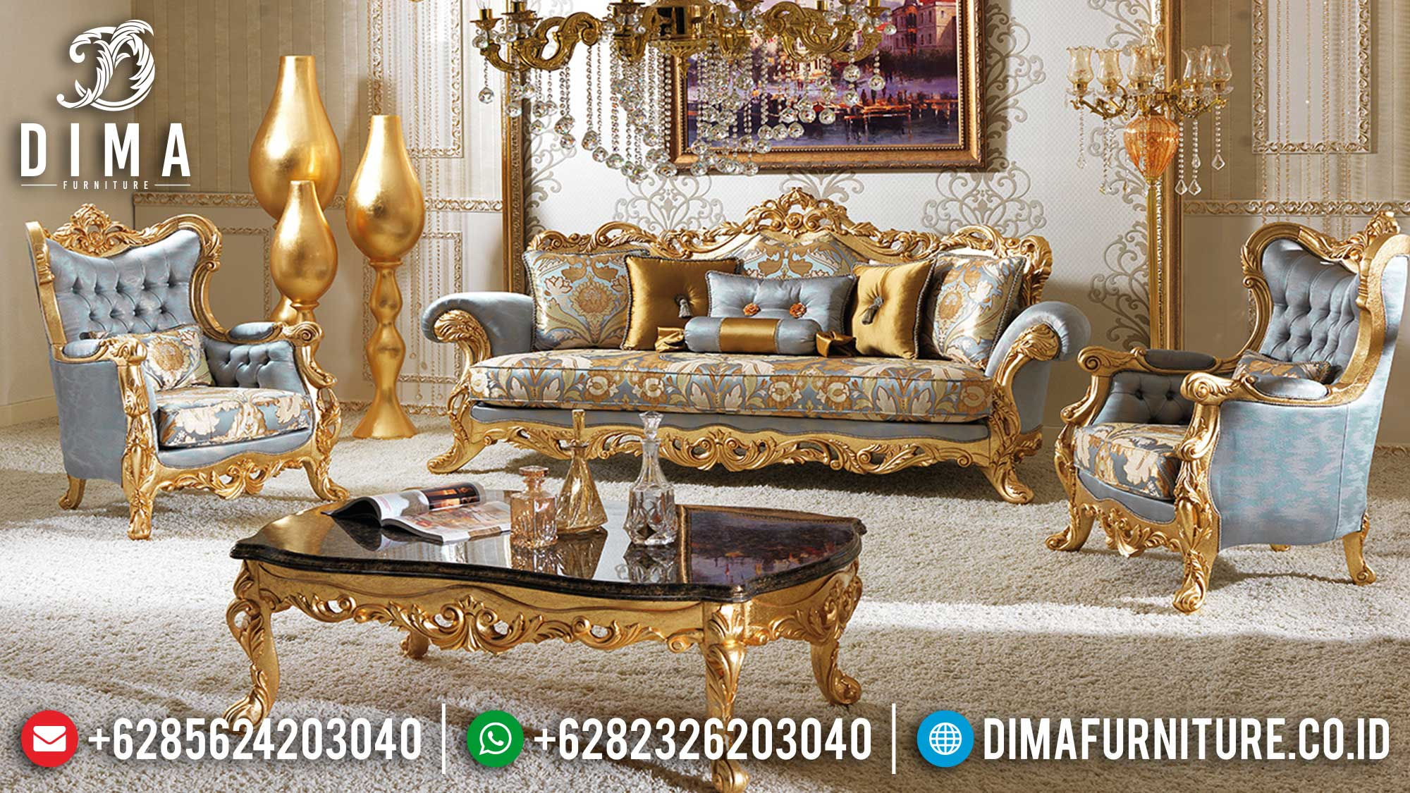 Set Sofa Tamu Mewah Ukir Golden Shine Color Luxurious Furniture Jepara Ttj-1528