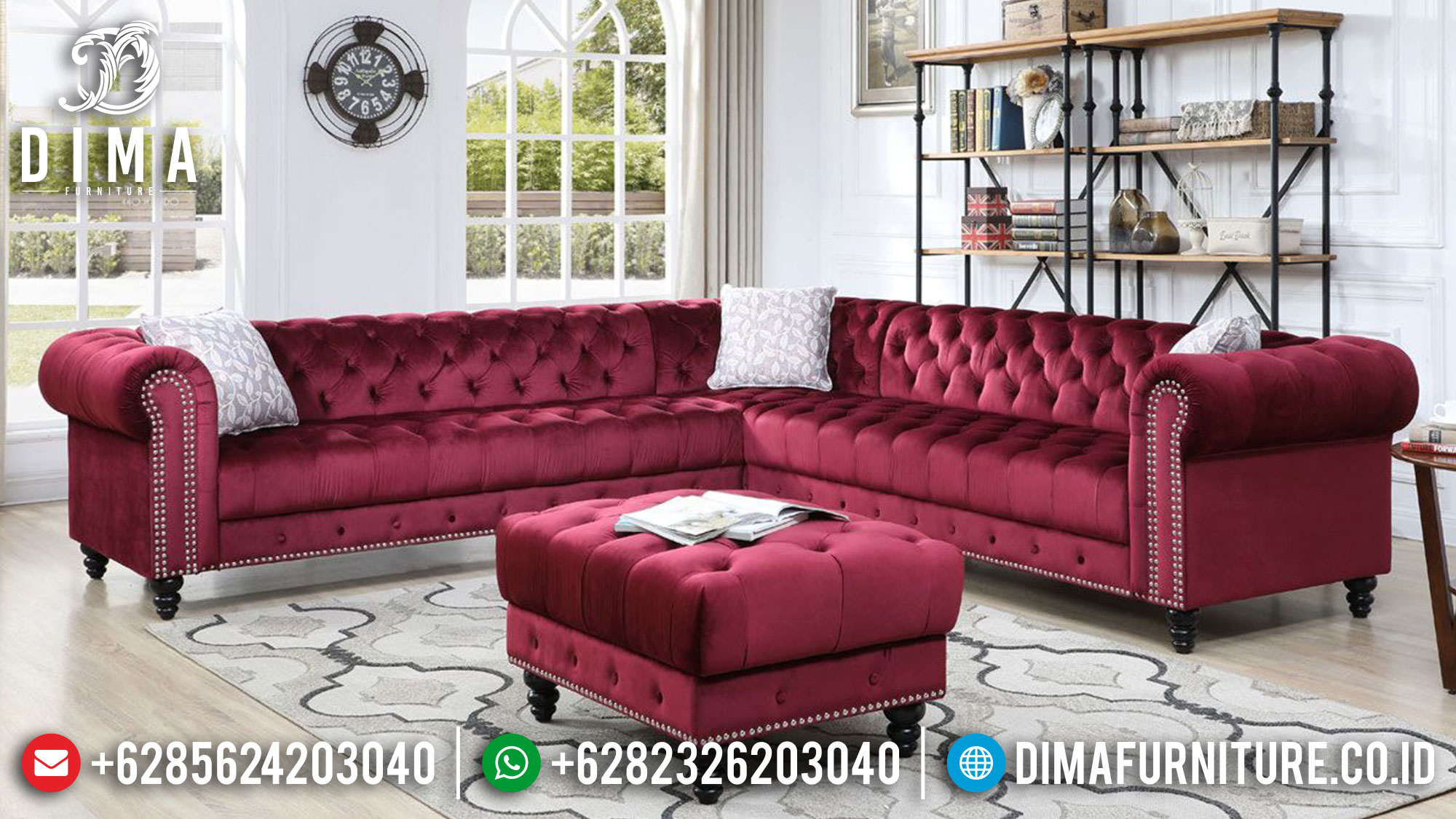 Set Sofa Tamu Minimalis New Red Classic Fabric Great Royal Foam TTJ-1480