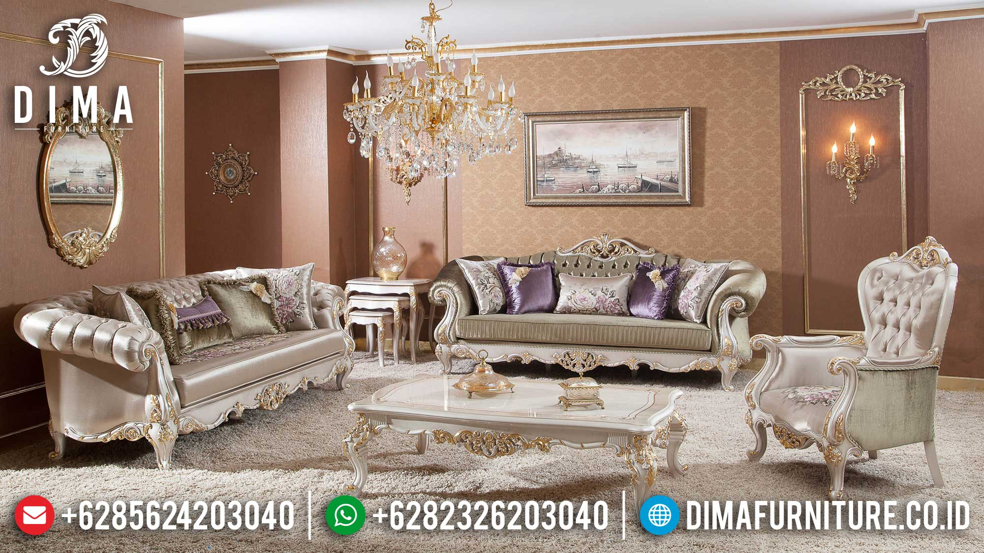 Sofa Tamu Jepara Mewah Luxury Classic Furniture Elegant Room Set TTJ-1532