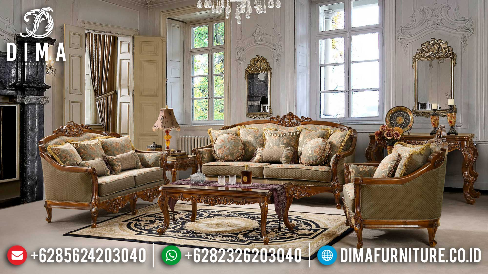 Sofa Tamu Mewah Bellavita Luxury Carving Pre Sale On March Ttj-1534