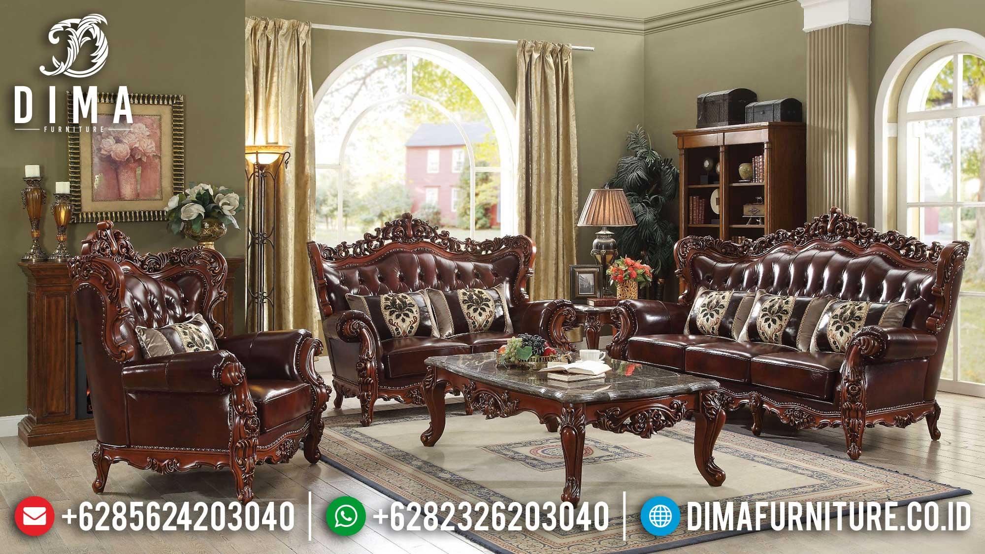 Sofa Tamu Mewah Terbaru Jepara Natural Jati Perhutani Luxury TTJ-1498