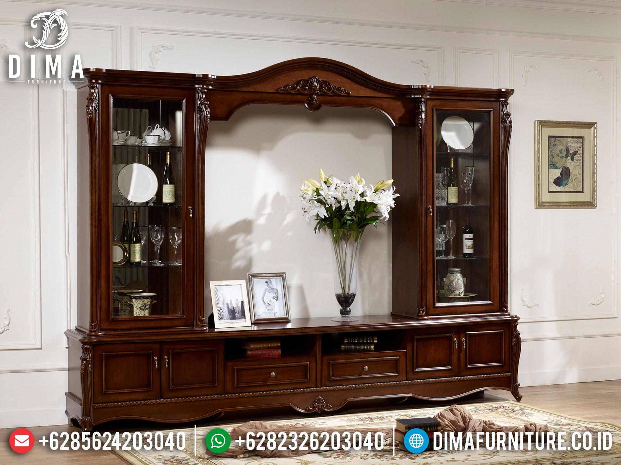 Adorable Set Bufet TV Mewah Jati Classic Natural Luxurt Style TTTJ-1642