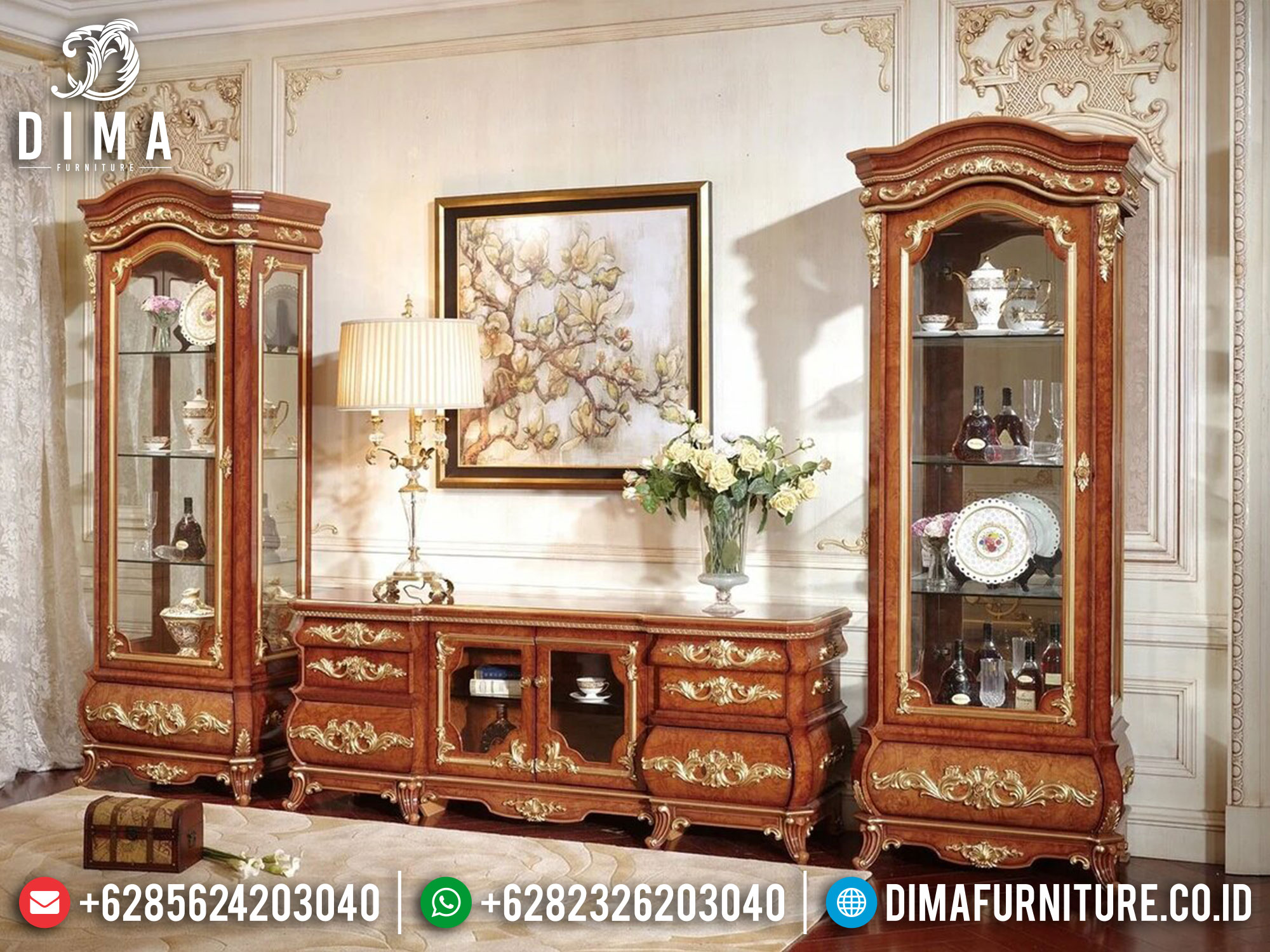 Bufet TV Jati Mewah Luxury Marquetry Style New Furniture Jepara TTJ-1626