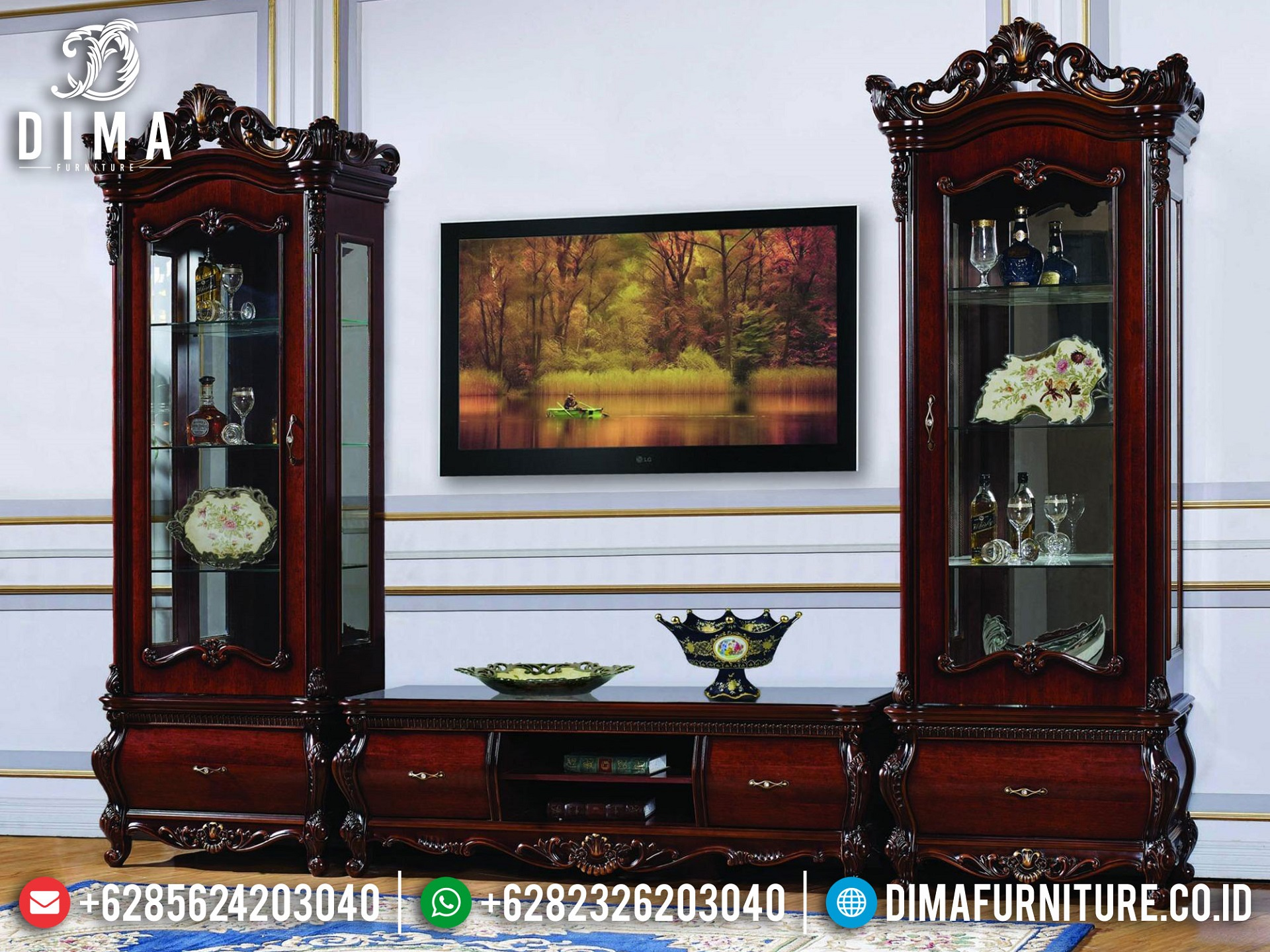 Bufet TV Mewah Jati Natural Classic Luxury Imperial Design TTJ-1649