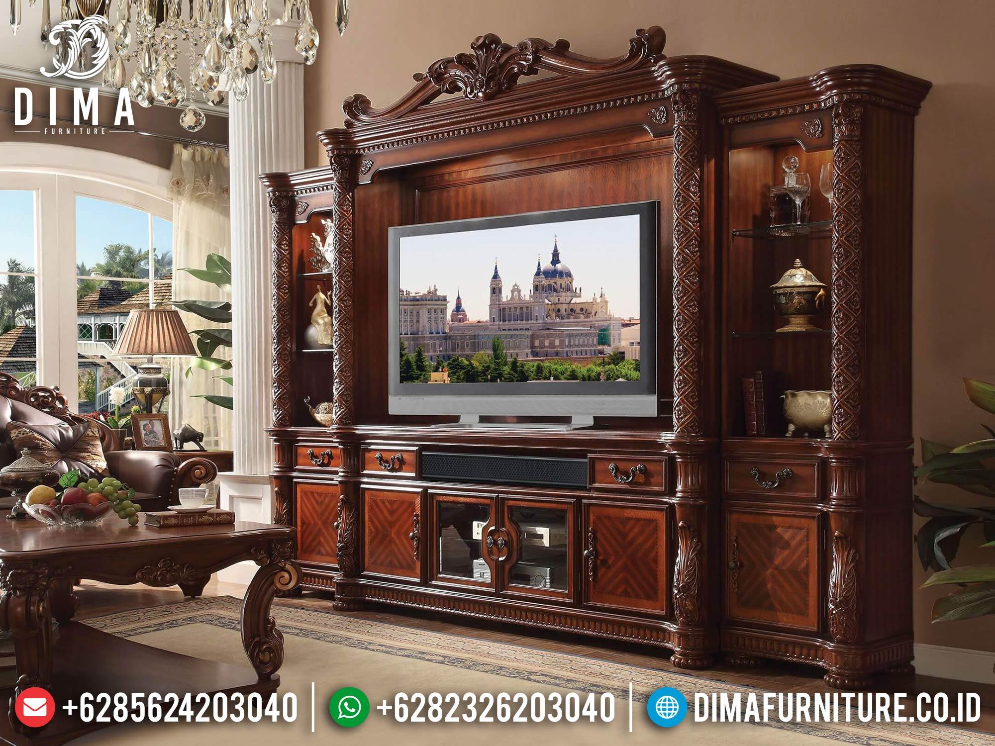 Bufet TV Mewah Jati Natural Kombinasi Luxury Set New Design 2021 TTJ-1651
