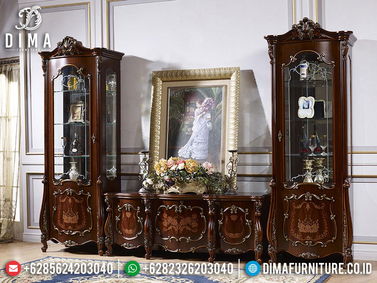 Bufet TV Mewah Jepara Luxurious Kayu Jati Natural Kombinasi TTJ-1627