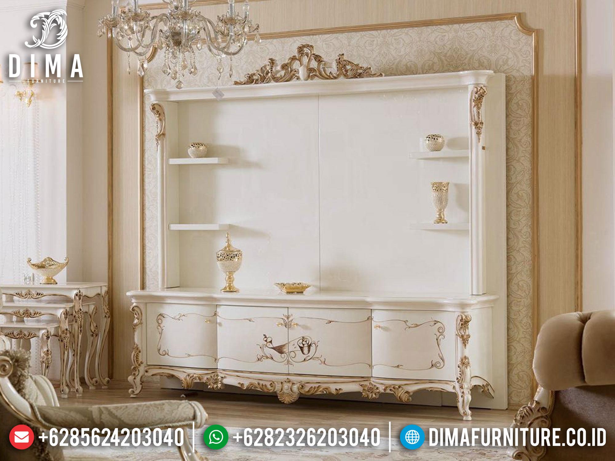 Bufet TV Mewah Putih Duco New Luxury Carving Furniture Jepara TTJ-1659
