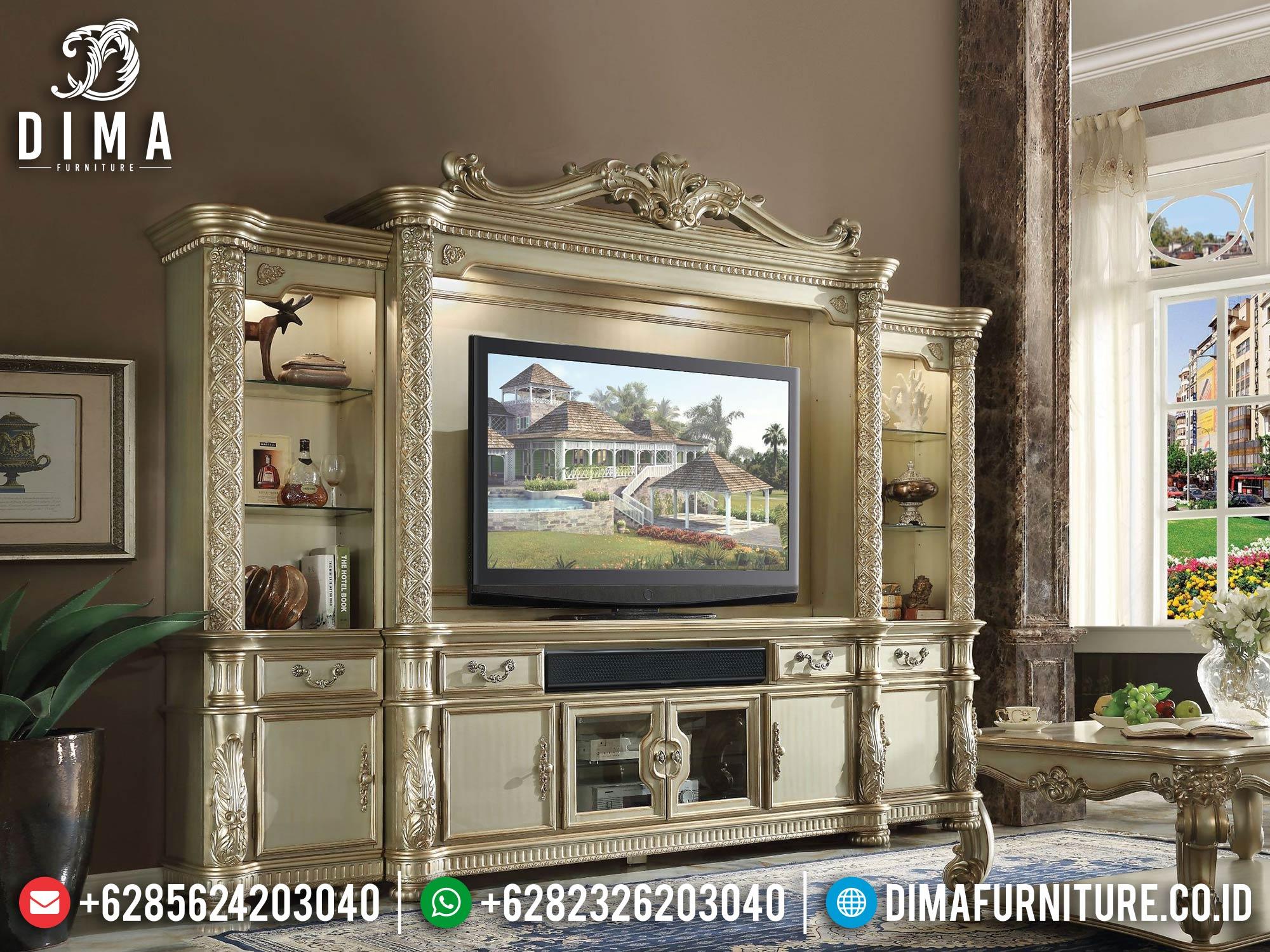 Bufet TV Mewah Ukir Jepara Luxury Golden Champagne Elegant Color TTTJ-1641