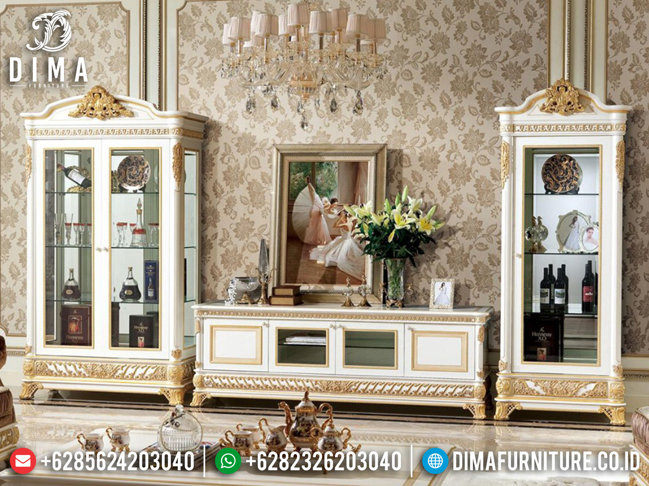 Classic Style Bufet TV Mewah Terbaru Luxury Carving Art Duco Color TTTJ-1644