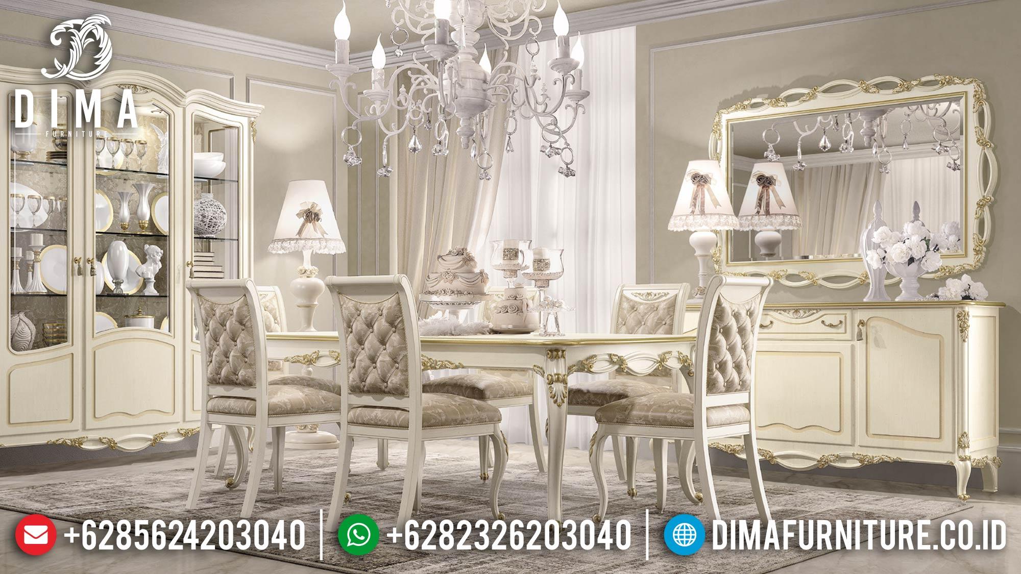 Desain Meja Makan Minimalis Mewah Elegant Set New Furniture Jepara TTJ-1579