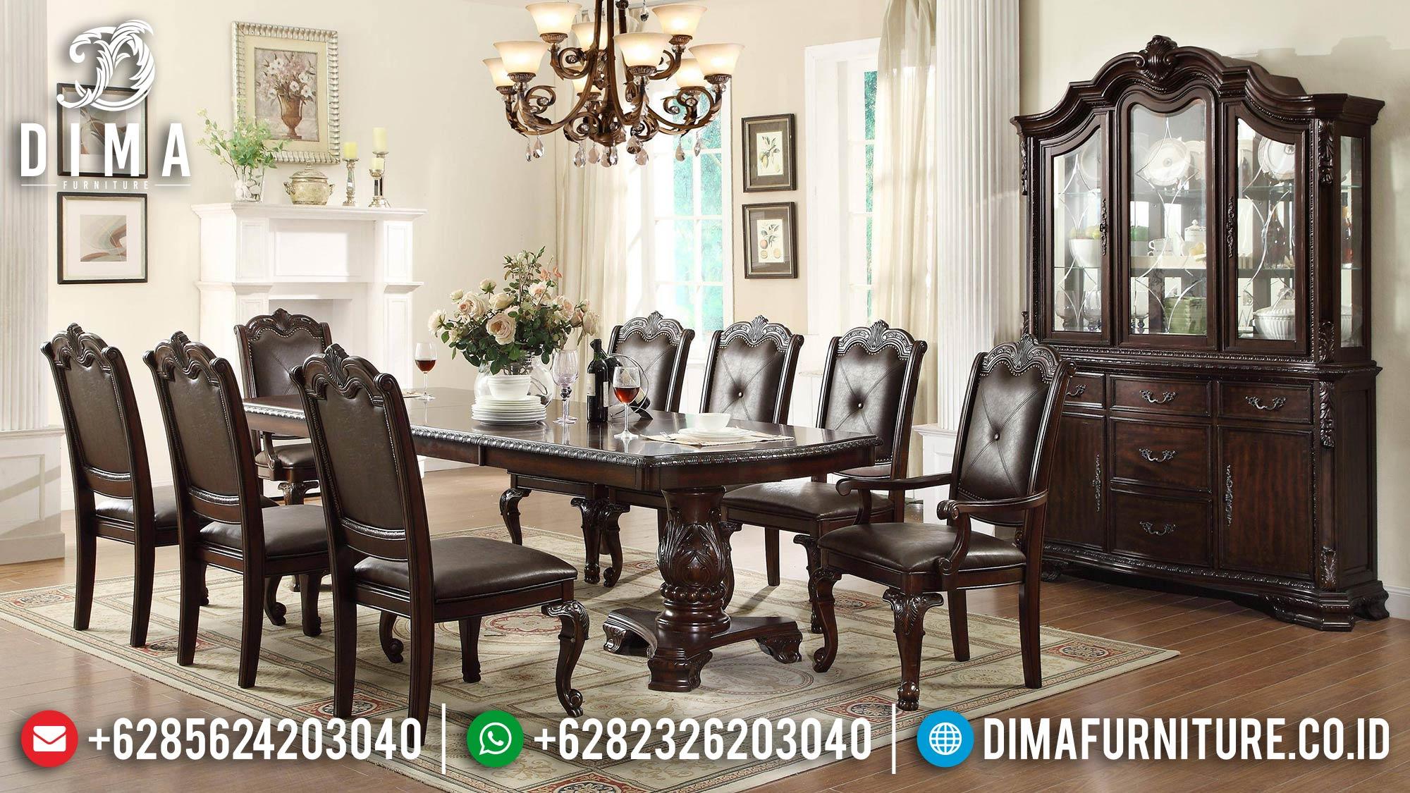 Desain Meja Makan Minimalis Natural Jati Klasik Luxury Color TTJ-1583