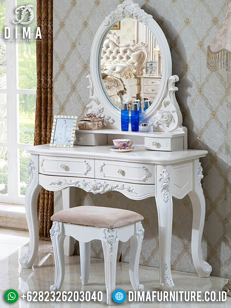 Desain Meja Rias Mewah Putih Duco Elegant Color Luxury Style TTJ-1546