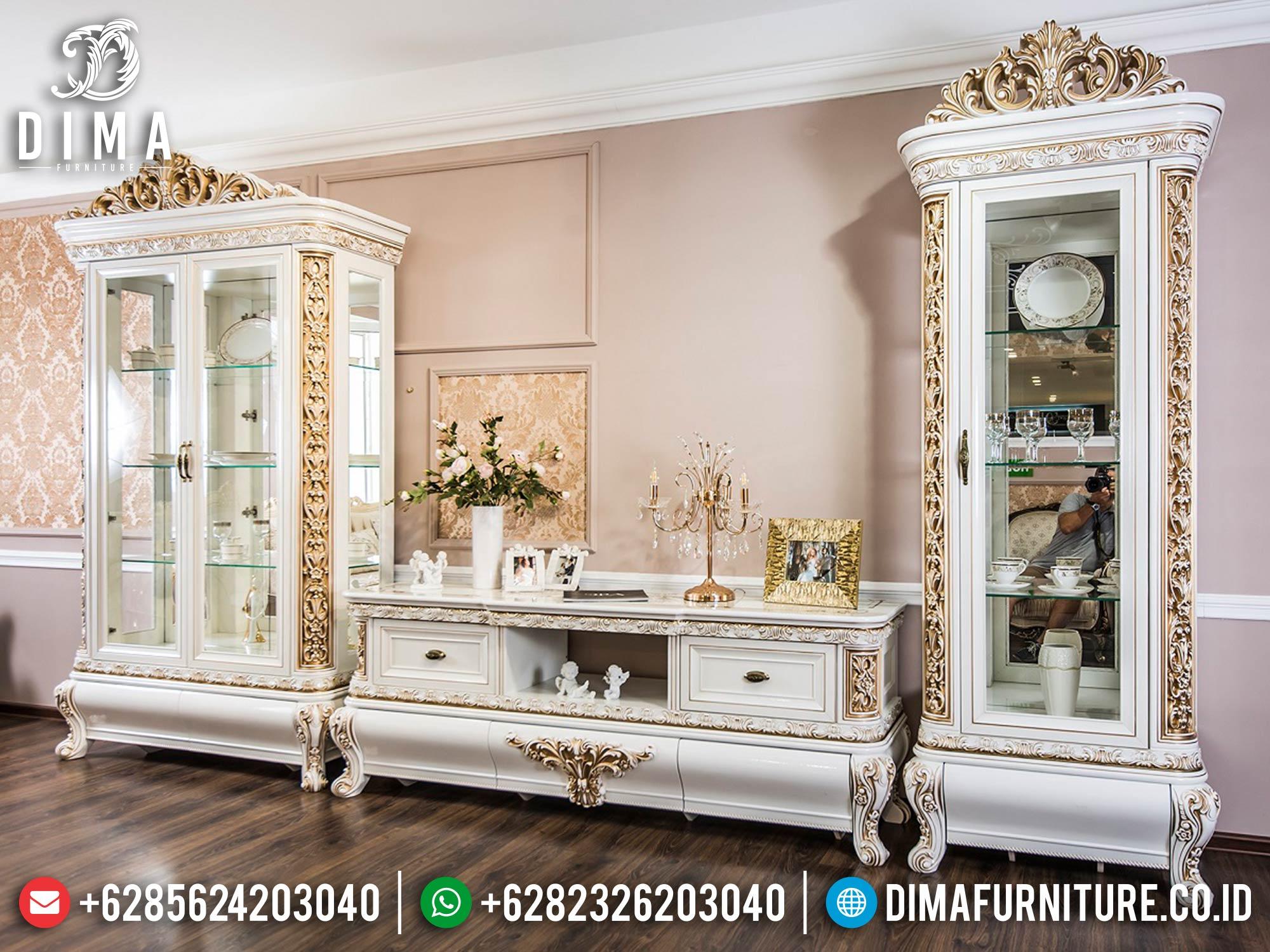 Elegant Set Bufet TV Mewah Ukiran Jepara Luxurious Carving TTTJ-1646