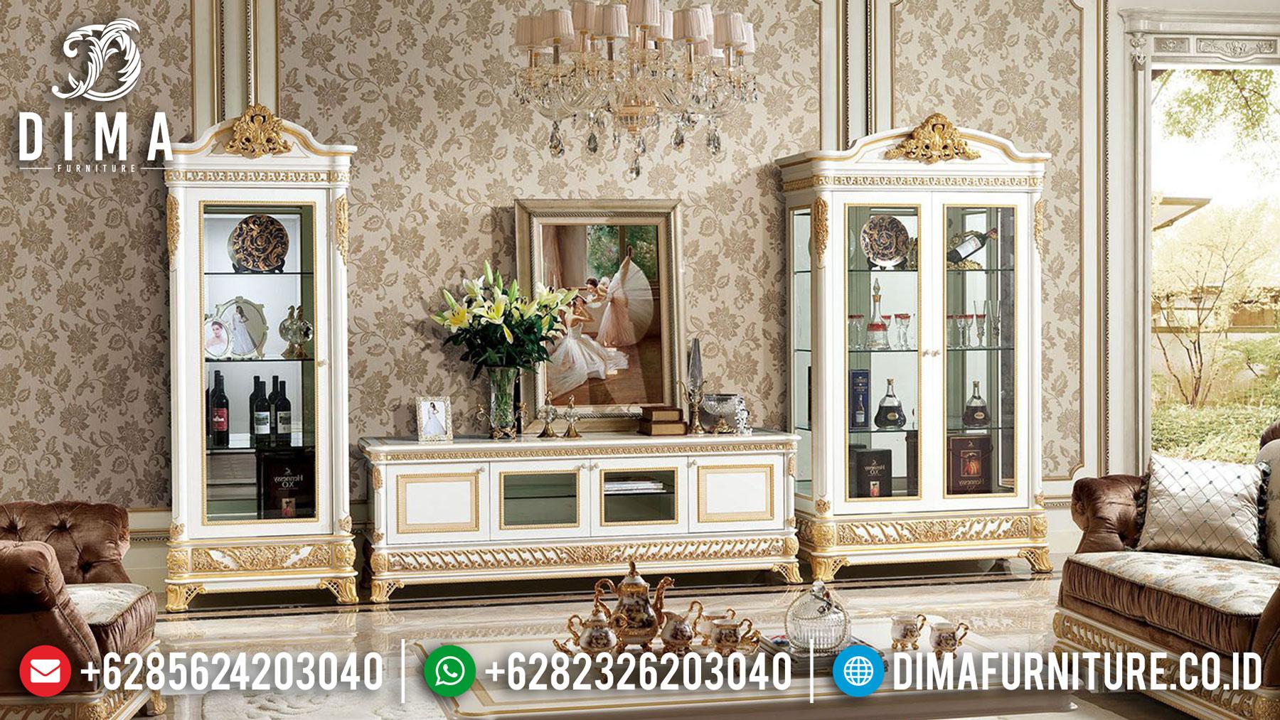 Glorious Desain Bufet TV Mewah Ukir Jepara Elegant Interior Living Room TTJ-1673