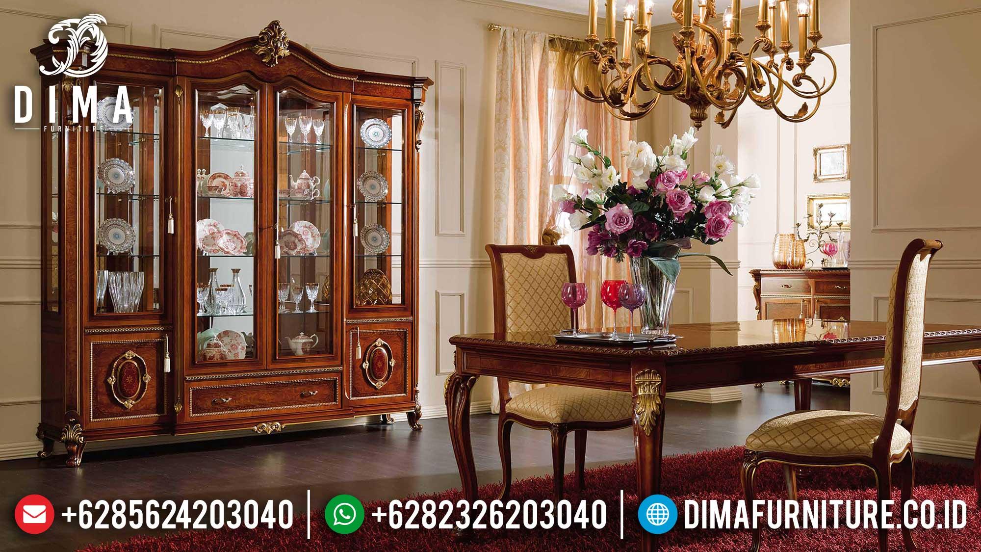 Harga Lemari Hias Mewah Jati Natural Perhutani Luxury Carving TTJ-1674