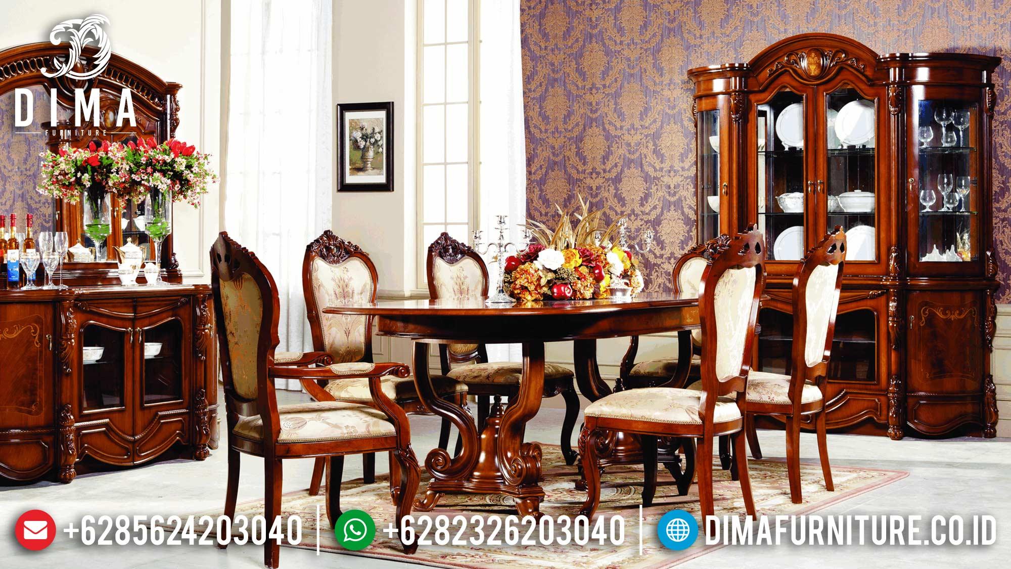Harga Meja Makan Mewah Jati Klasik Natural Great Solid Wood Perhutani TTJ-1616
