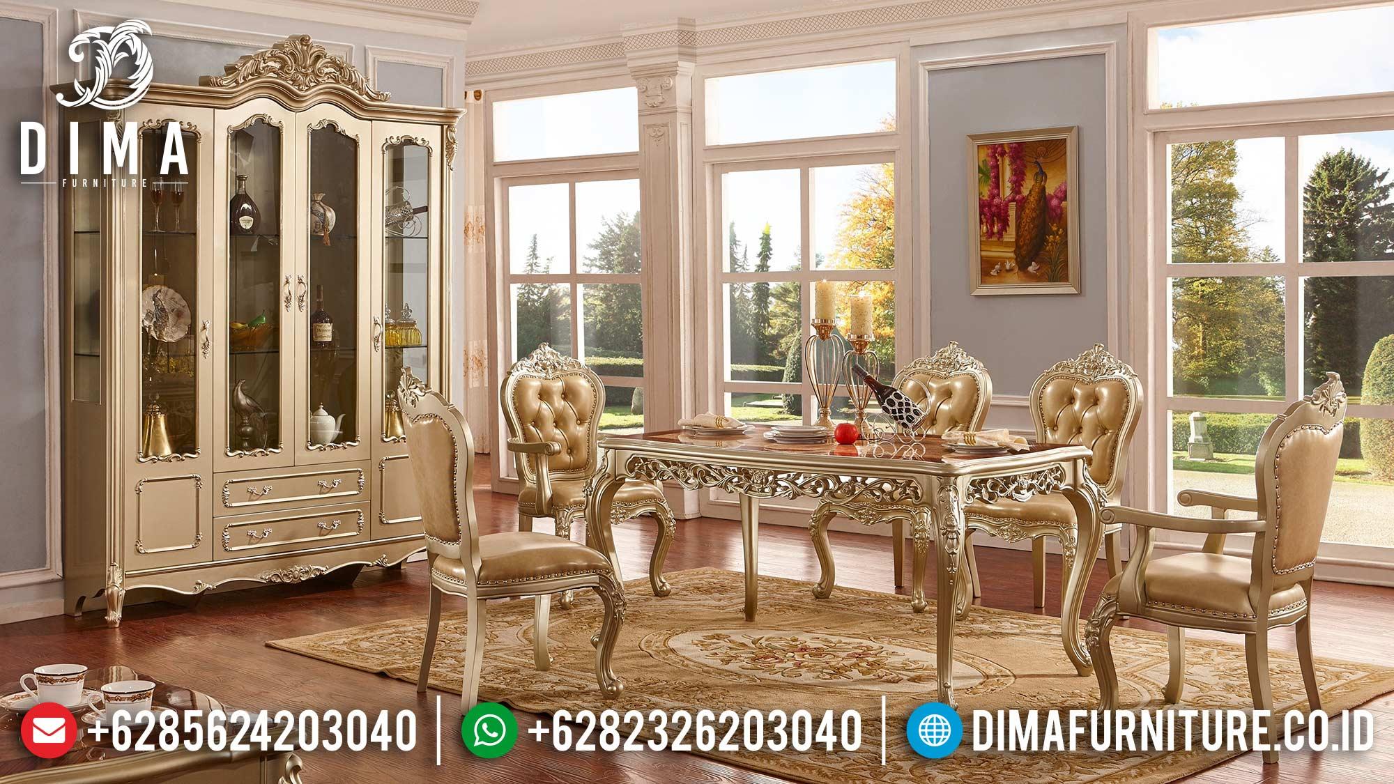 High Class Desain Meja Makan Mewah Excellent Golden Duco Glossy Color TTJ-1605