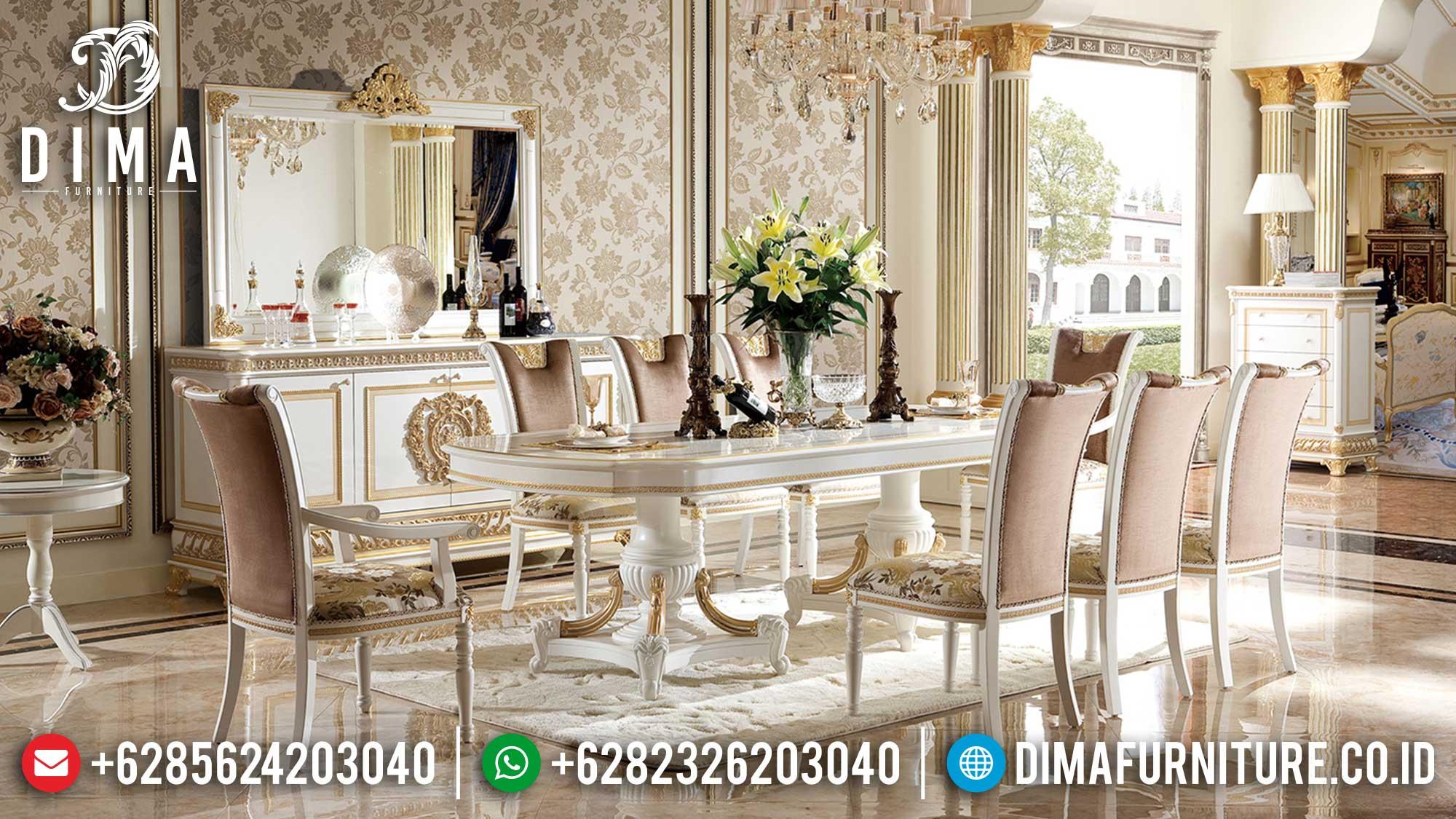 Jual Meja Makan Mewah 8 Kursi Luxury Elegant Model Solid Wood TTJ-1608