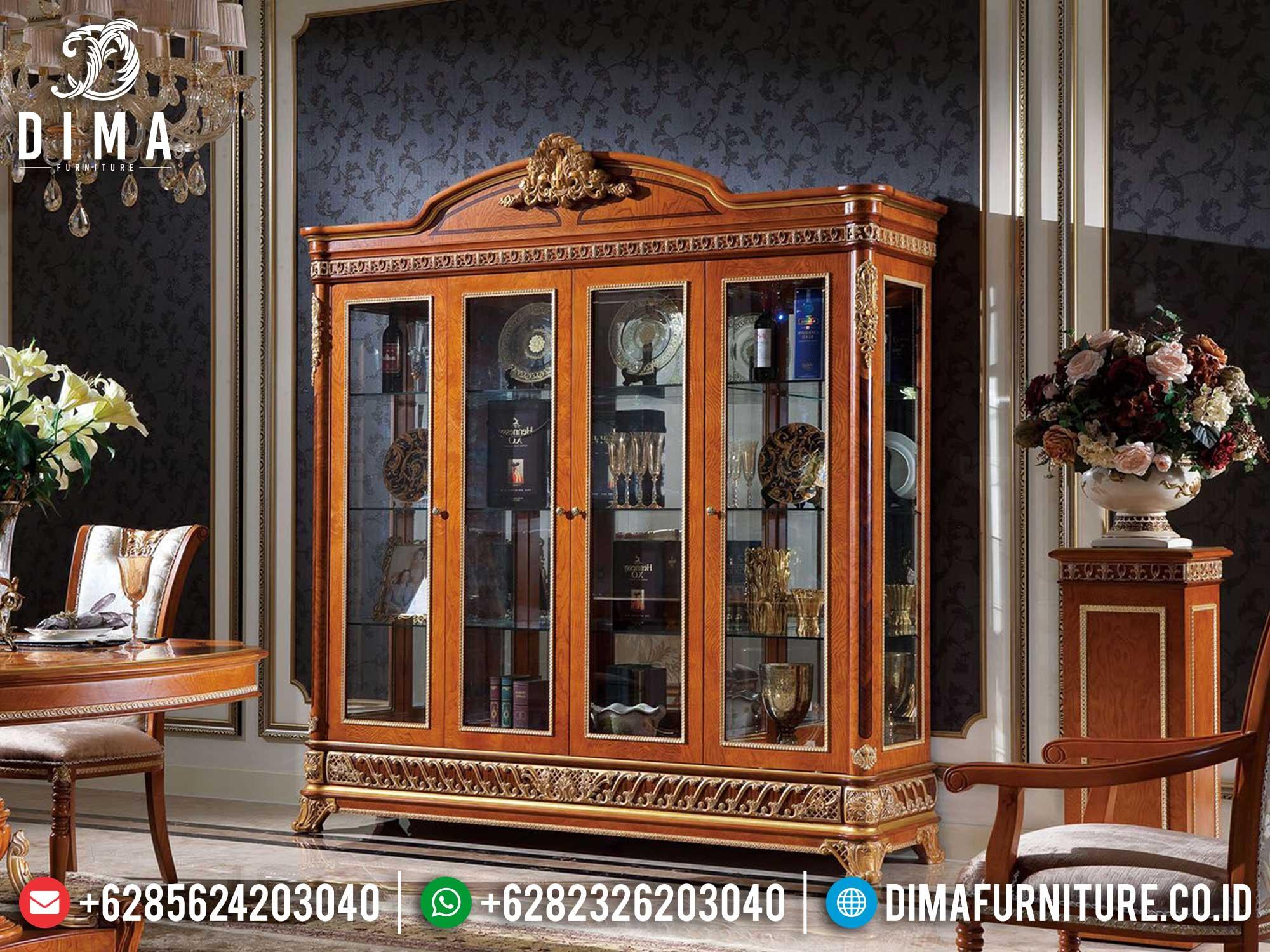 Lemari Hias Jati Mewah Natural Luxury Furniture Jepara Terbaru TTJ-1675