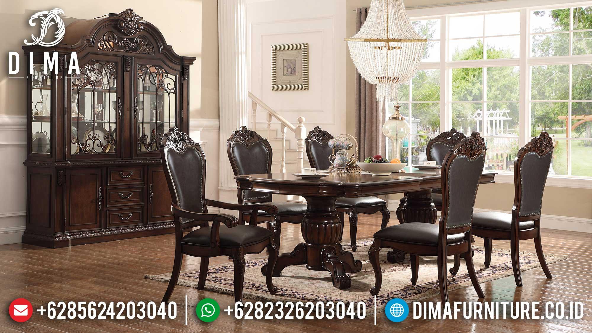 Meja Makan Jepara Klasik Natural Jati Great Solid Wood Perhutani TTJ-1582