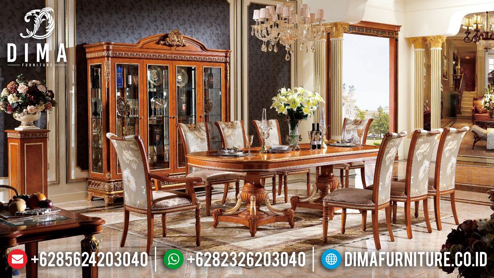 Meja Makan Mewah Jati Natural Classic Luxury Carving TTJ-1609