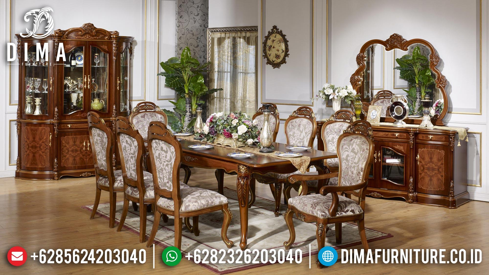 Meja Makan Mewah Jati Natural Salak Brown Elegant Color TTJ-1614