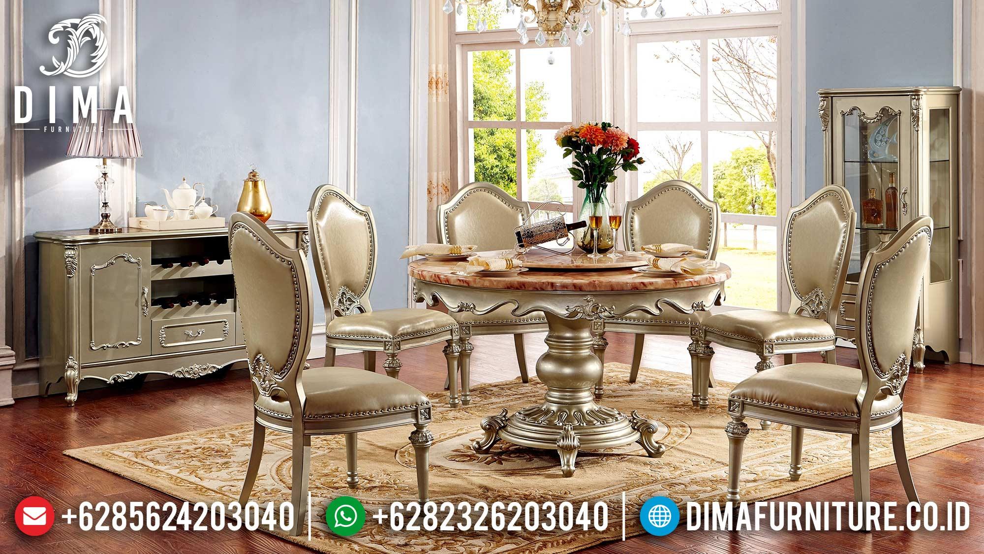 Model Meja Makan Mewah Bundar Ukir Jepara Luxury Art Duco TTJ-1610