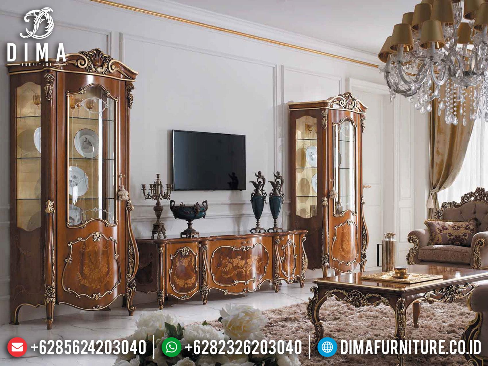 New Model Bufet TV Mewah Jati Natural Salak Brown Luxury Combination TTJ-1628