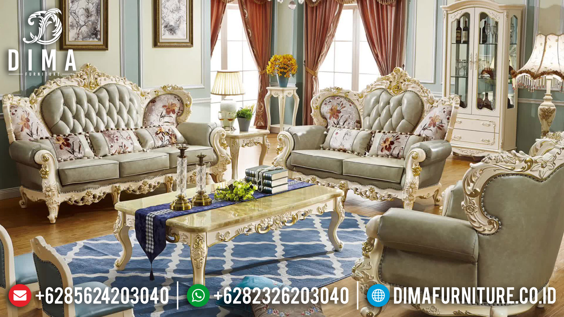 New Model Sofa Ruang Tamu Mewah Ukiran Luxurious Carving TTJ-1622