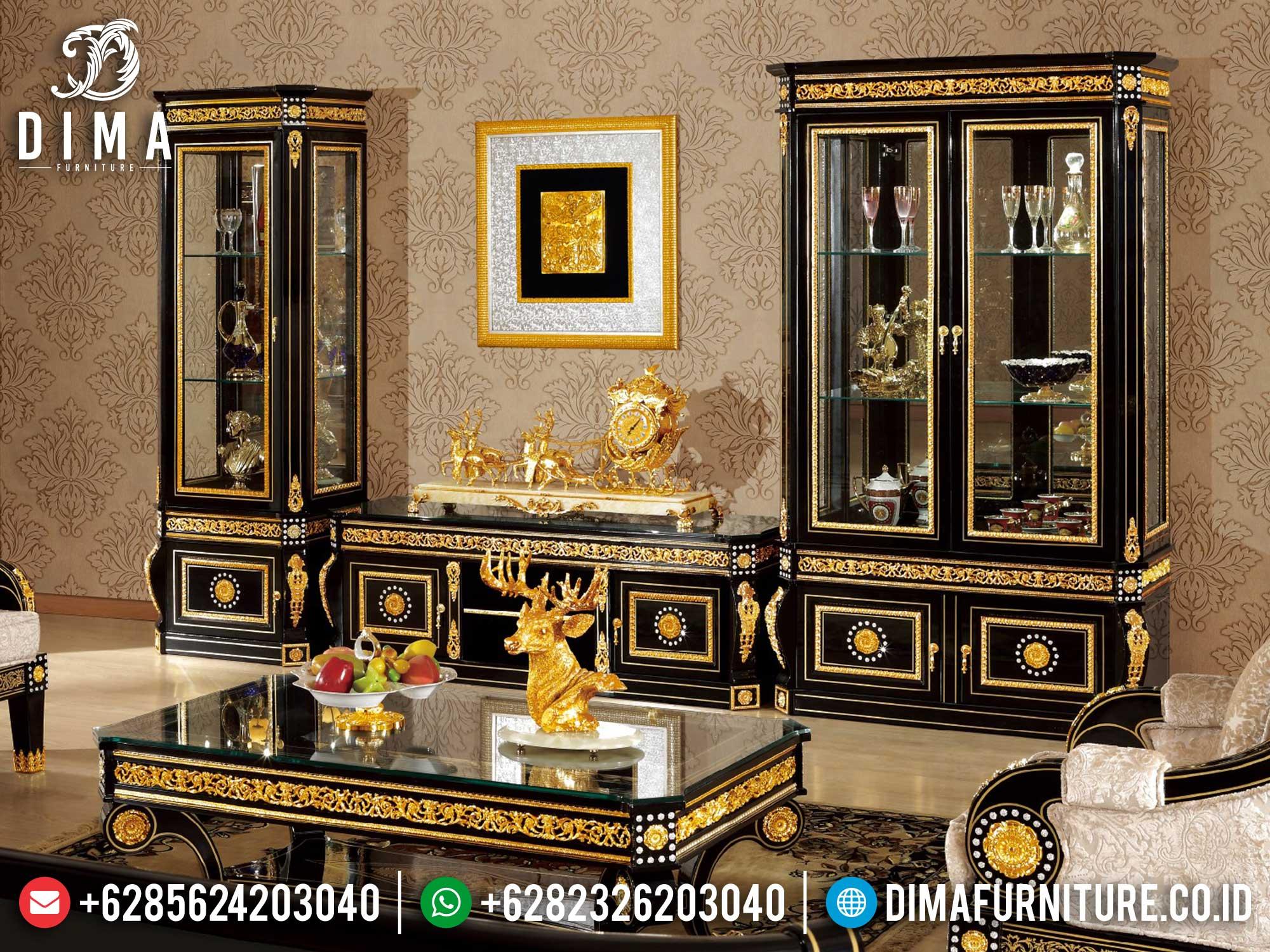 Palace Desain Bufet TV Mewah Ukiran Luxurious Black Combination Art Duco TTJ-1667