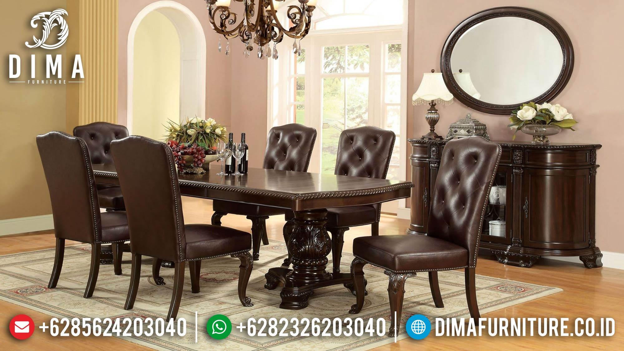 Ramadhan Sale Meja Makan Minimalis Jati Classic Luxury Natural Color TTJ-1584