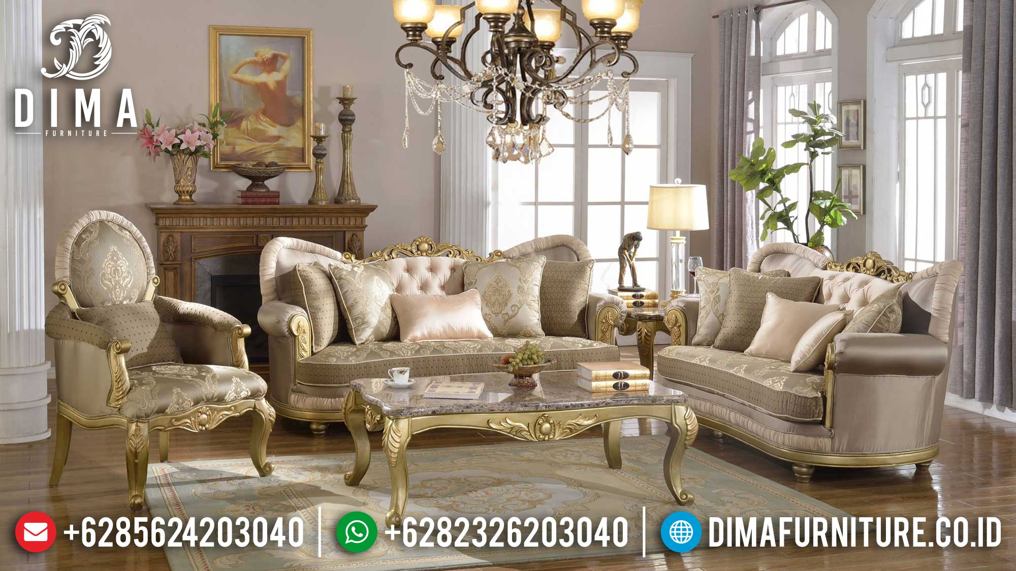 Sofa Tamu Mewah Jepara Loveseat Luxury Design TTJ-1621