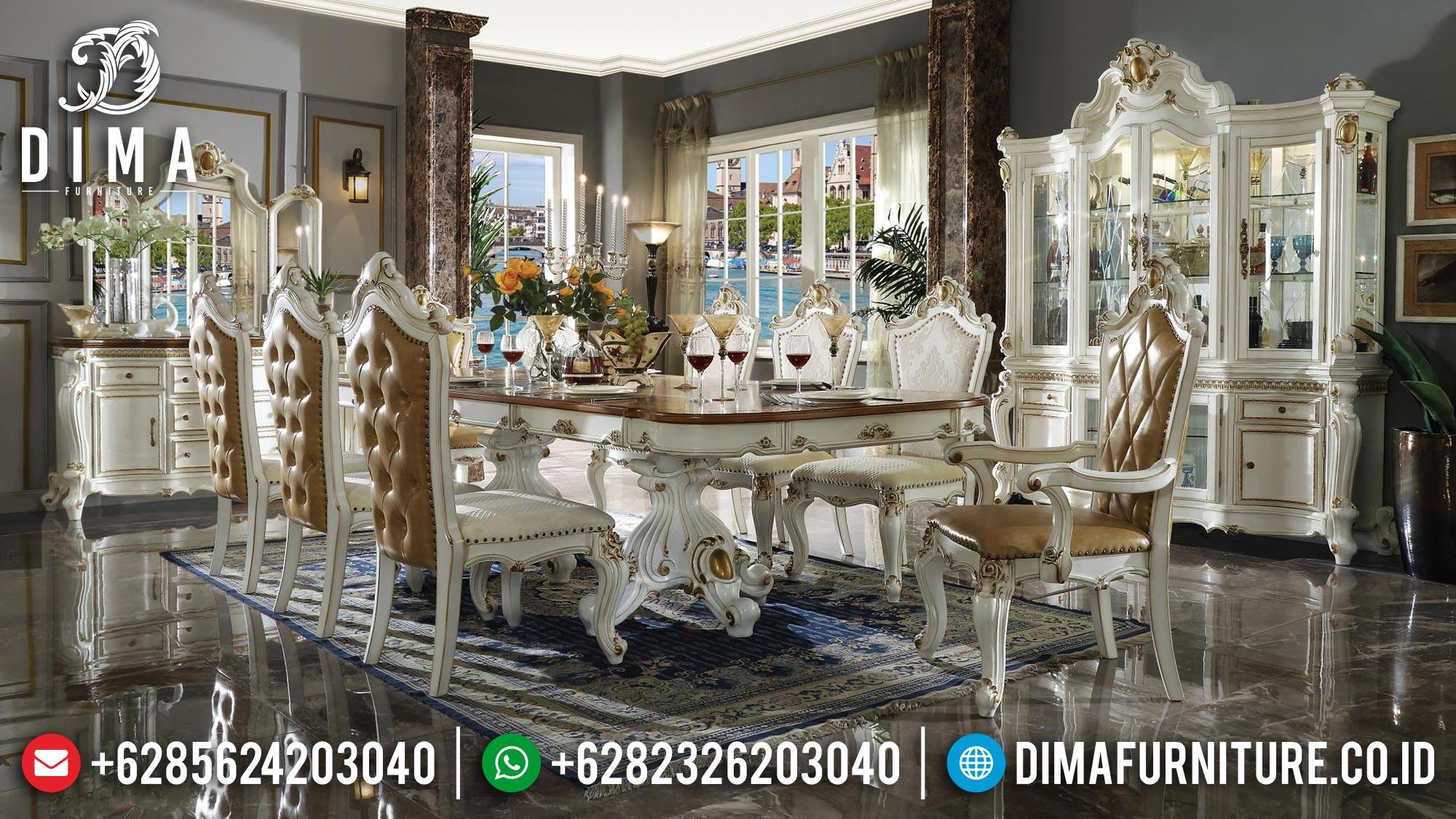 Epic Set Meja Makan Mewah Ukiran Terbaru Luxury Baroque Old Style TTJ-1686