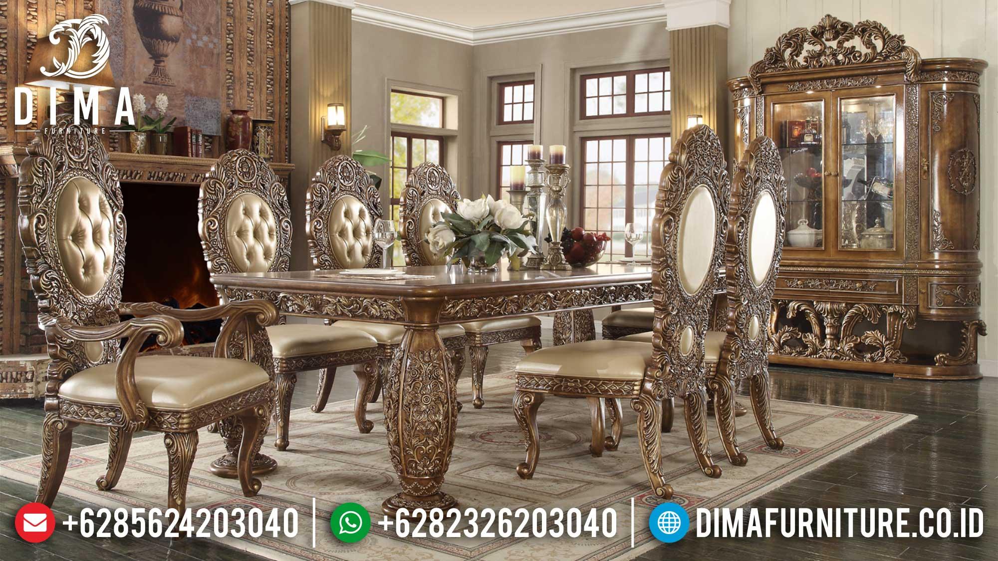 Great Meja Makan Ukiran Jepara Luxury Italian Carving Majestic Style TTJ-1689
