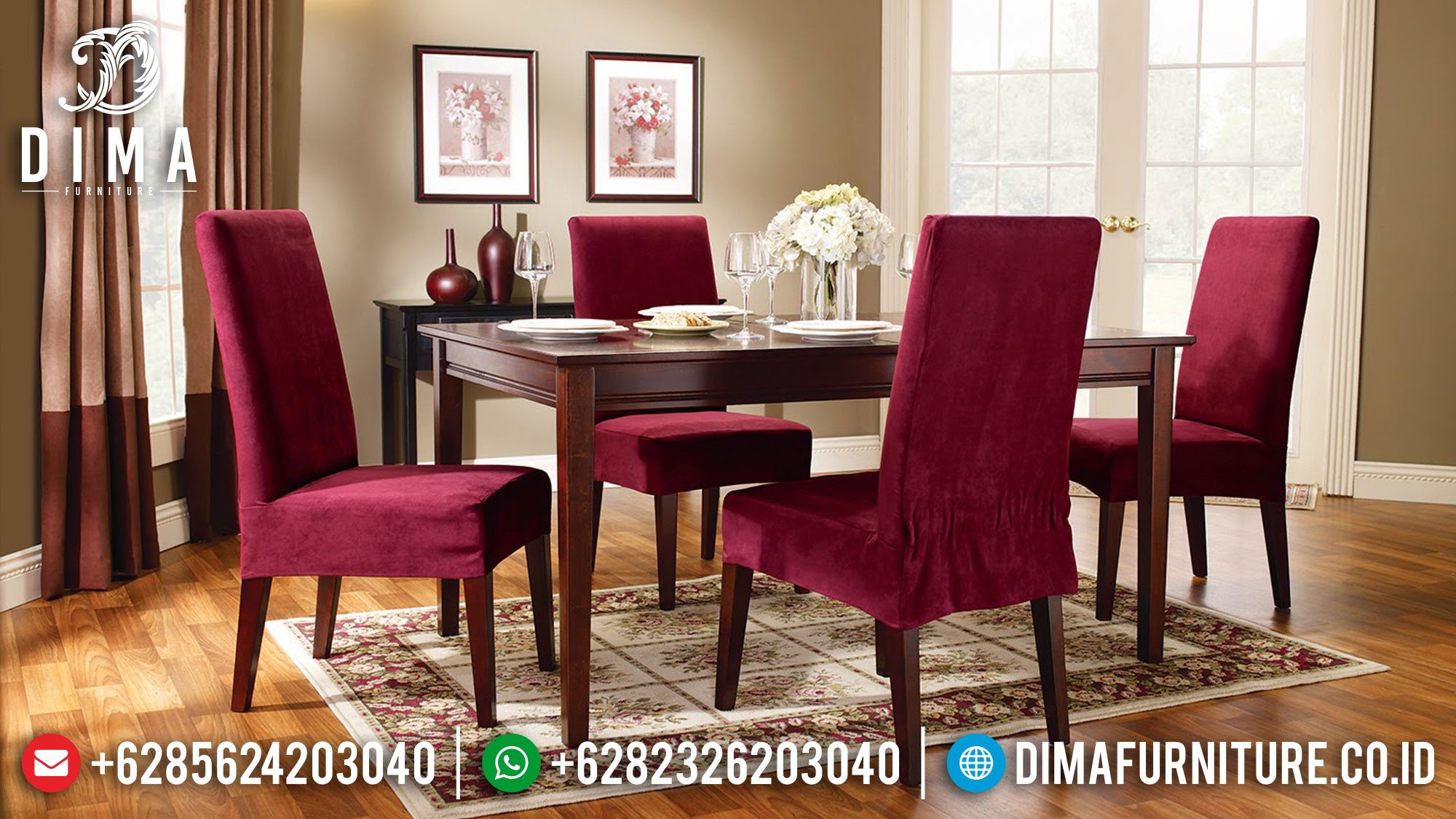 Harga Meja Makan Minimalis Jepara Elegant Simple Design Natural Jati TTJ-1700