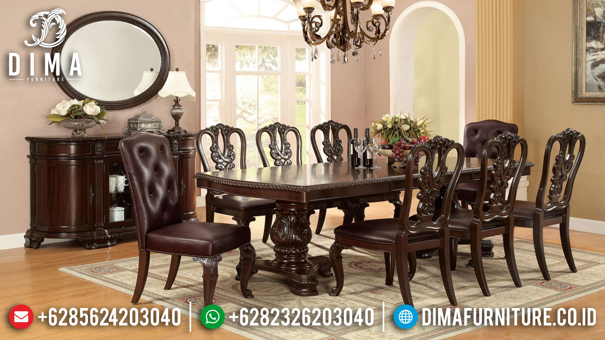 Jual Meja Makan Minimalis Jepara Natural Jati Solid Wood Luxury TTJ-1699
