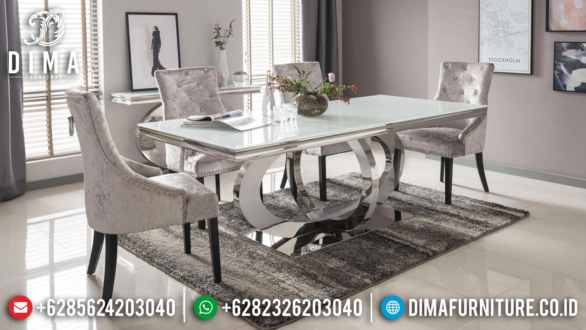 Meja Makan Mewah Minimalis Modern Luxury Stainless Steel Best Design TTJ-1681