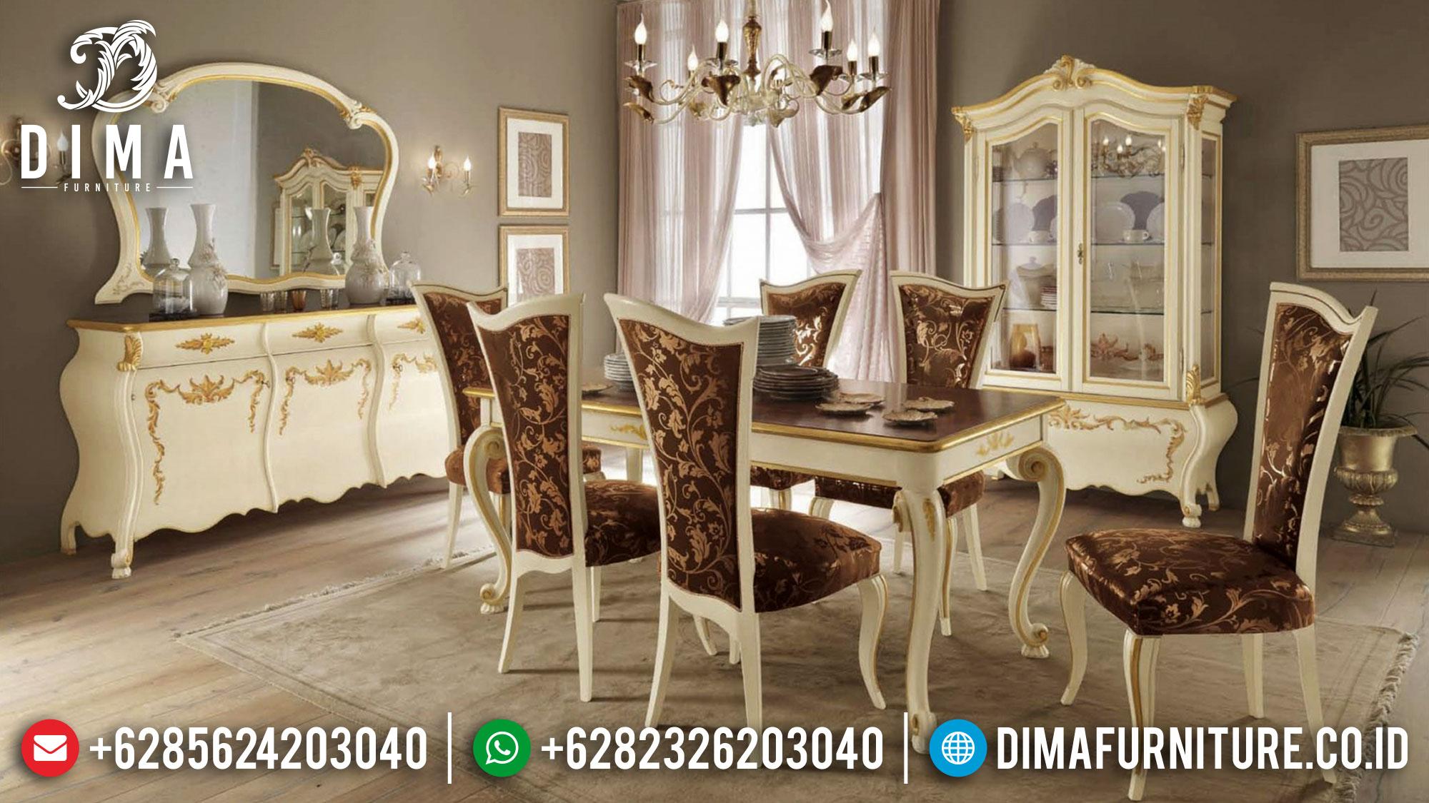 Meja Makan Mewah Putih Duco Classic Elegant Set Epic Design TTJ-1683