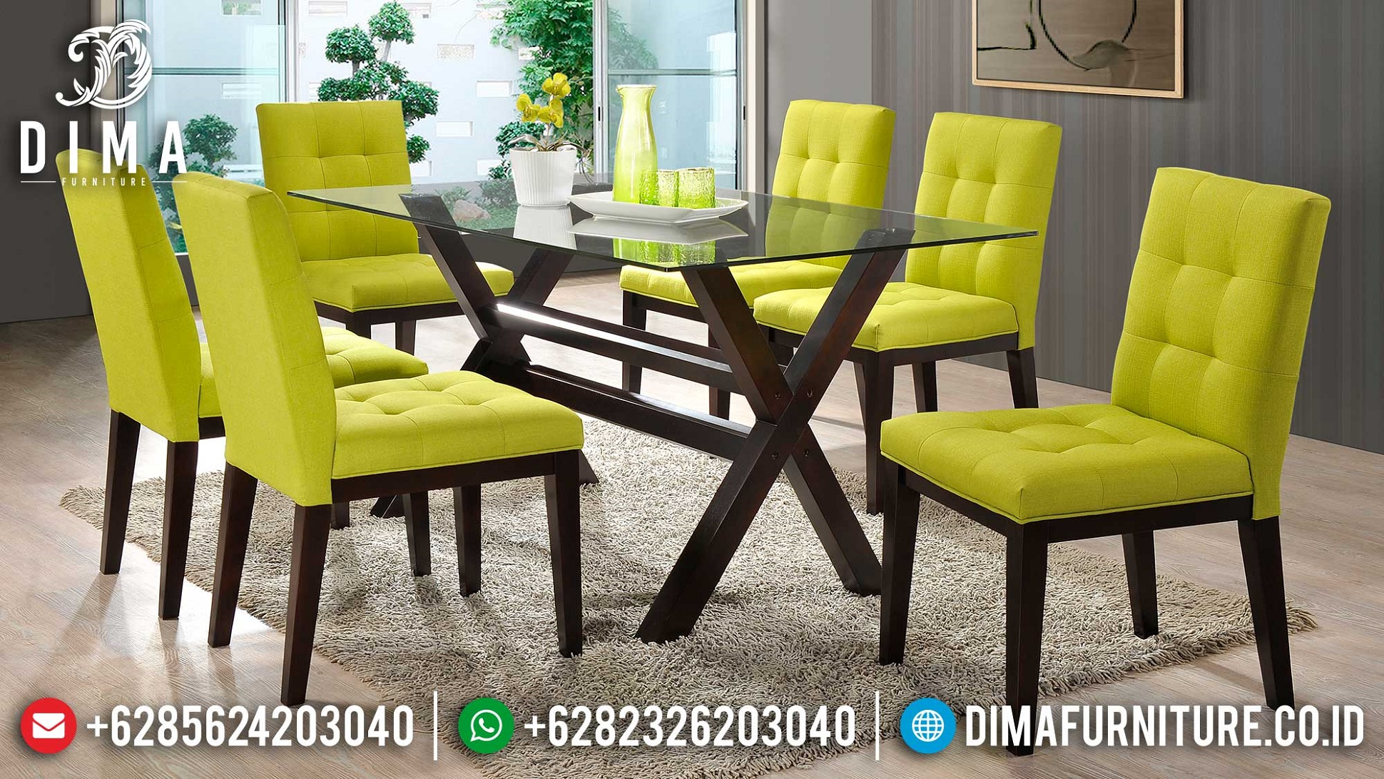 Meja Makan Minimalis Jati Top Kaca Elegant Simple Design TTJ-1702
