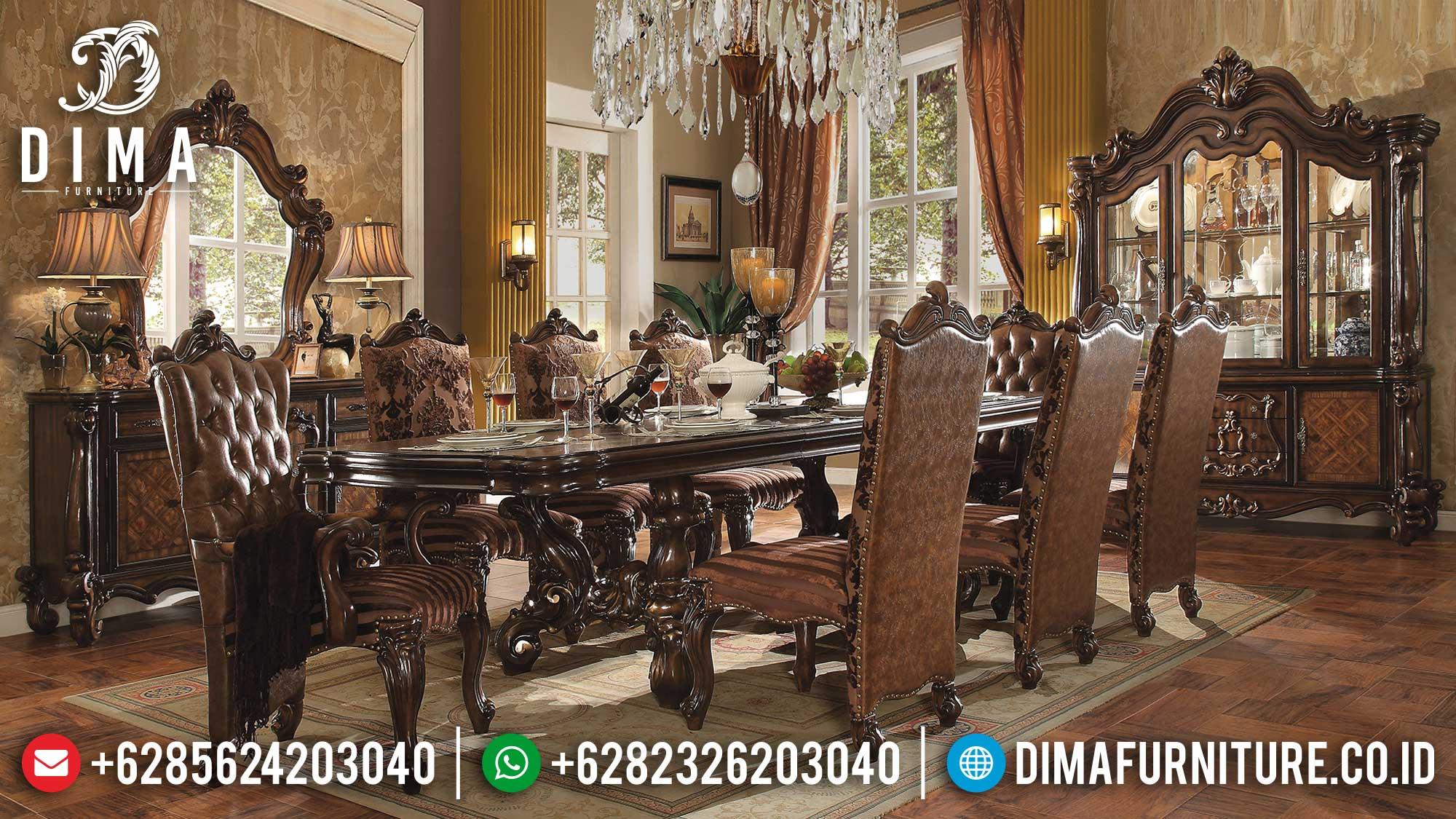 New Model Meja Makan Mewah Terbaru Luxury Carving Jepara TTJ-1688