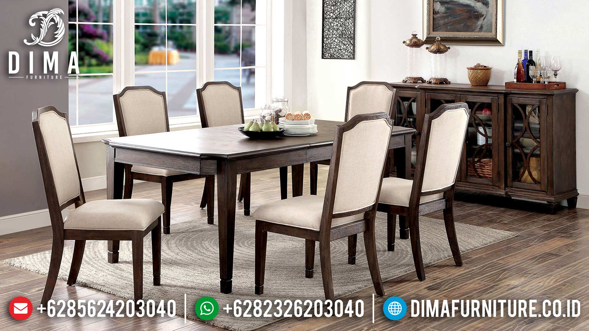 Set Meja Makan Jati Minimalis Natural Salak Color Great Solid Wood TTJ-1693