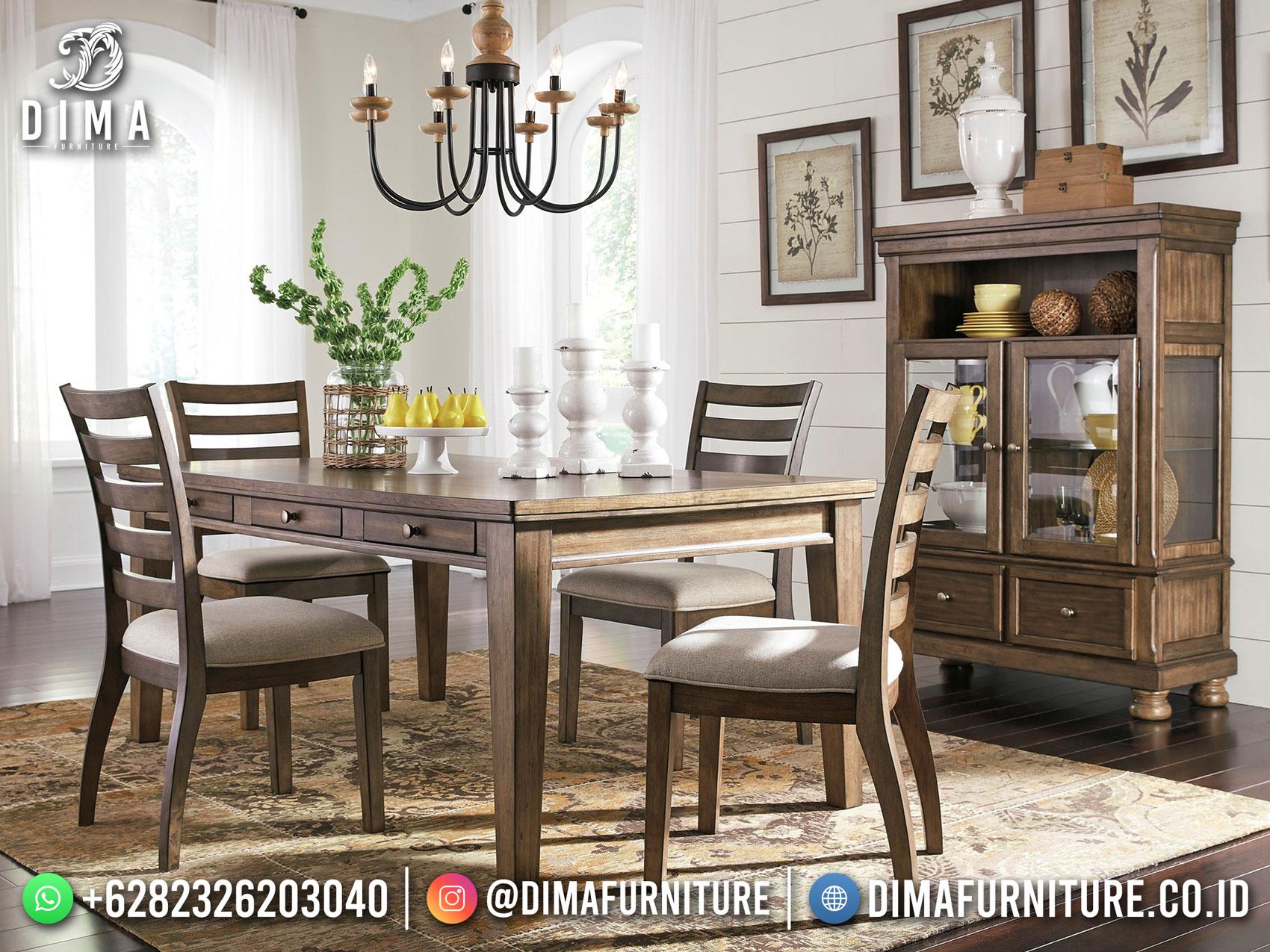 Desain Meja Makan Minimalis Jati Rustic Natural Vintage New 2021 TTJ-1741