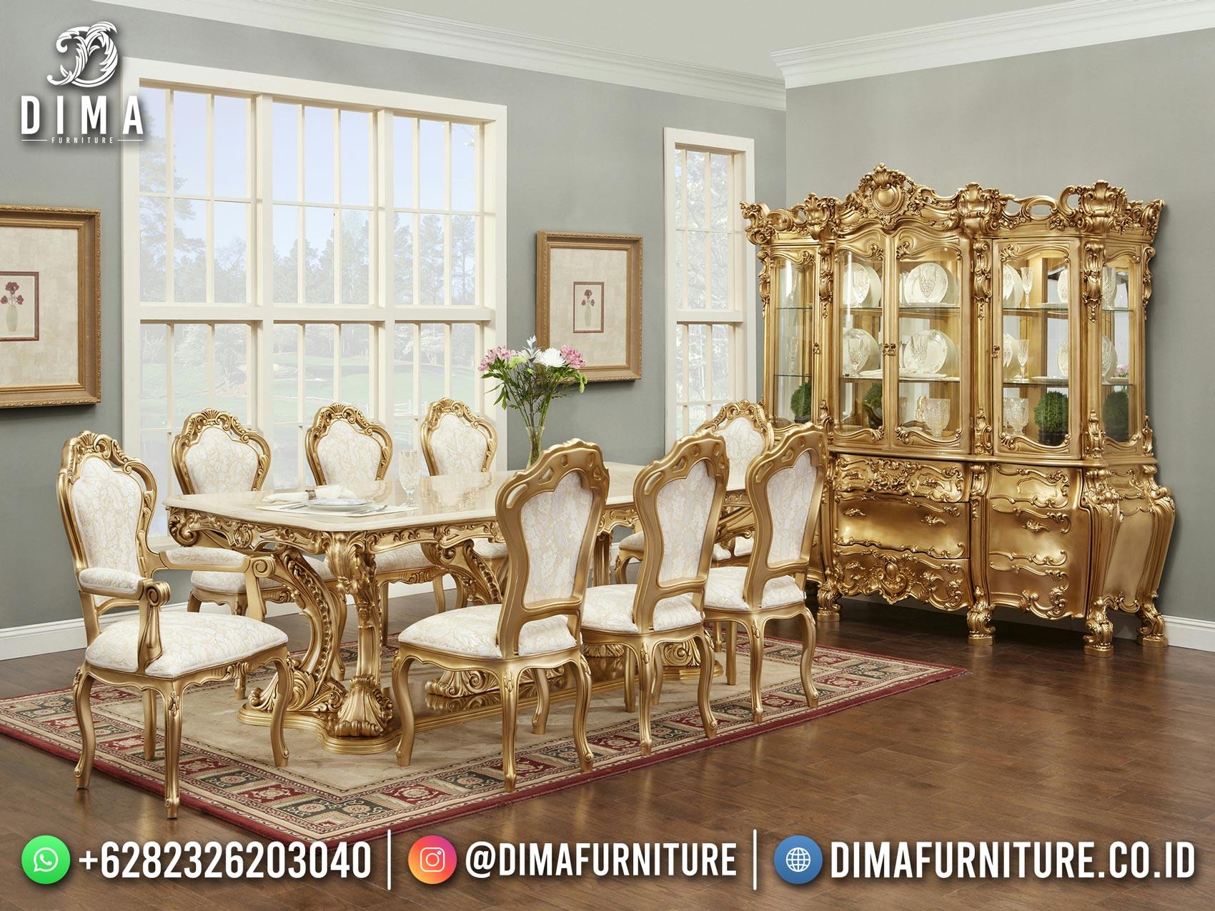 Meja Makan Mewah Ukir Klasik Golden Duco Glorious Style Furniture Jepara TTJ-1727