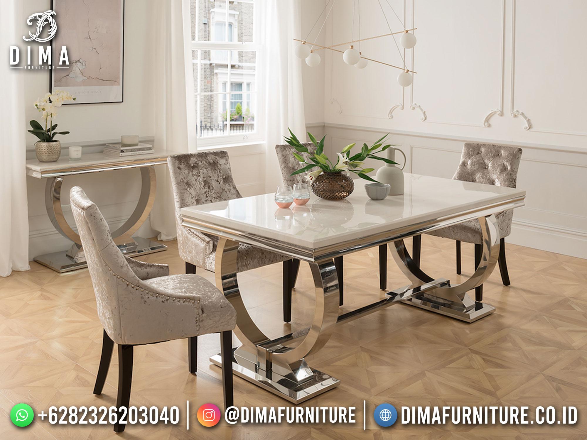 Meja Makan Minimalis Modern Stainless Steel Luxury Elegant Design TTJ-1745