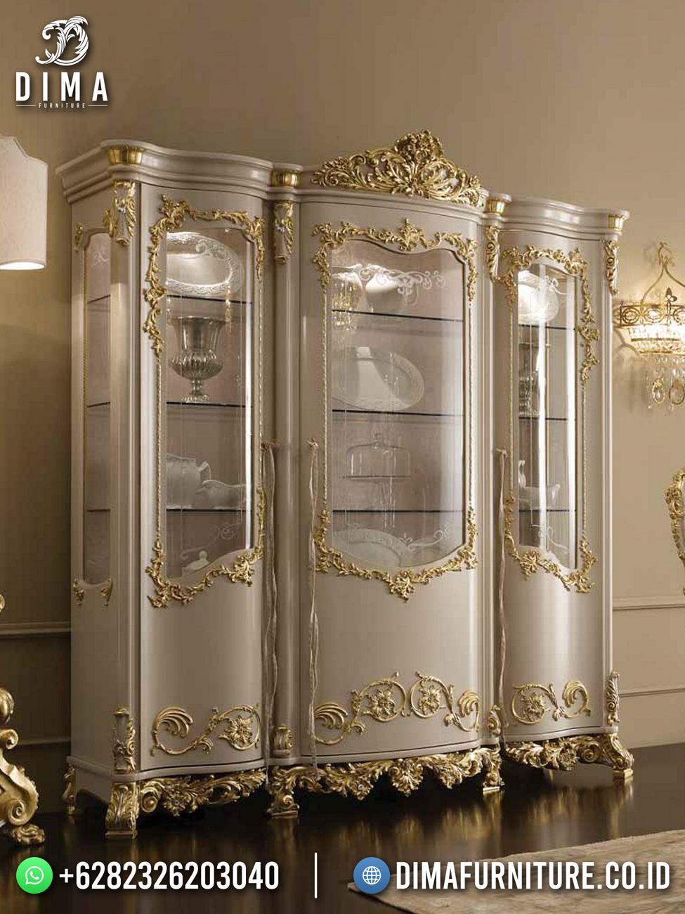 New Lemari Hias Mewah Putih Luxury Carving Jepara TTJ-1724